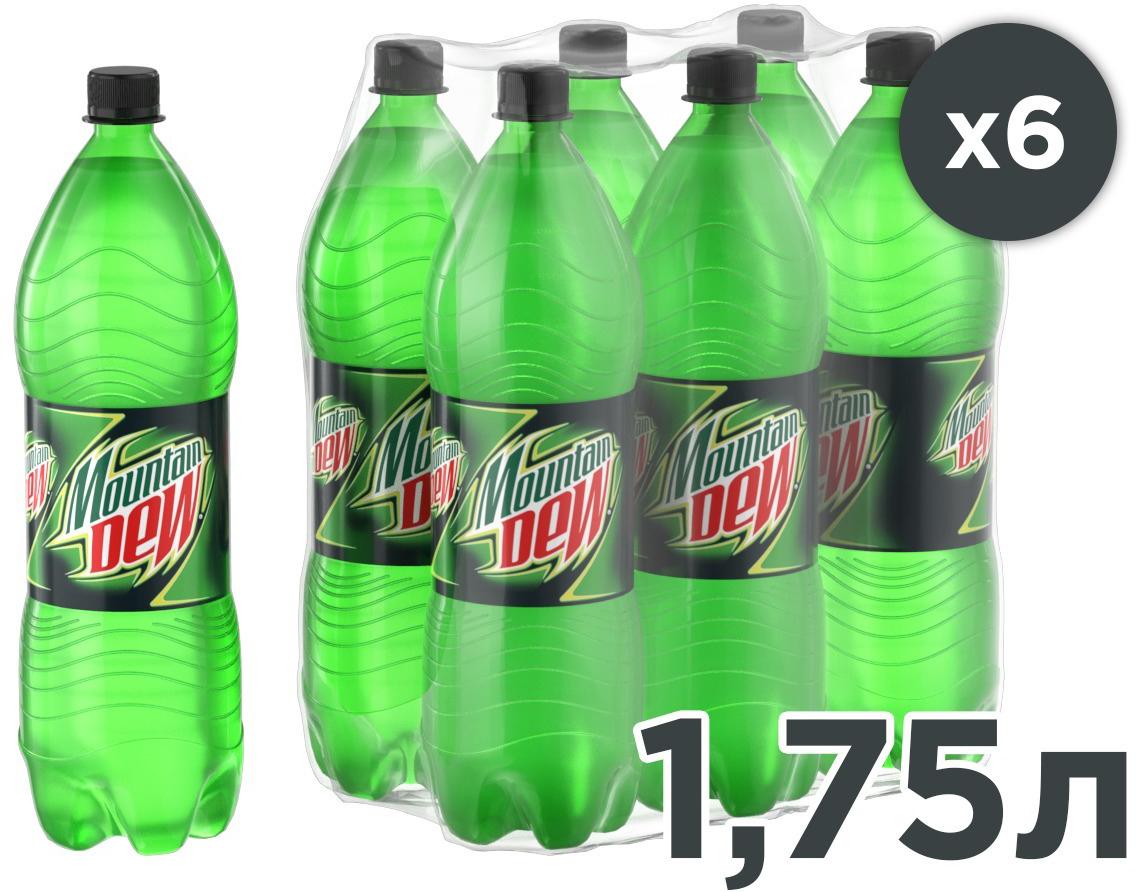 Mountain Dew Цитрус напиток сильногазированный, 6 штук по 1,75 л340015913_блокиНапиток с цитрусовым вкусом и с добавлением кофеина. Заряжает энергией и утоляет жажду.О бренде:Mountain Dew был изобретен в 1940 году и сейчас является самым популярным цитрусовым газированным напитком в США.
