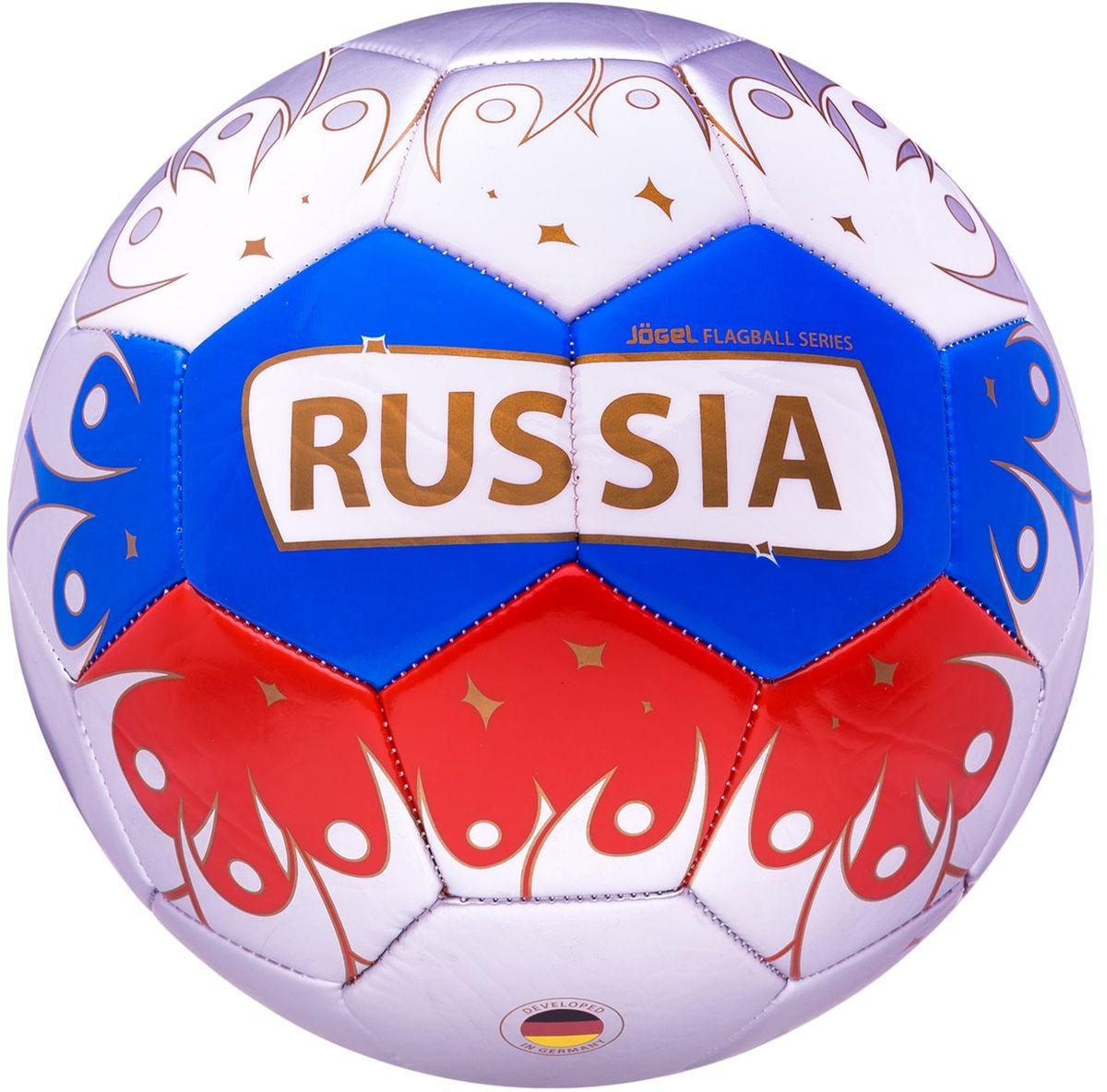 """Мяч футбольный Jogel """"Russia"""", цвет: белый, синий, красный. Размер 5"""