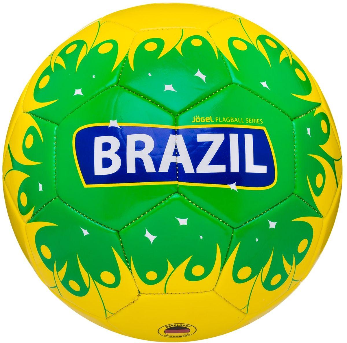 Мяч футбольный Jogel Brazil, цвет: желтый, зеленый. Размер 5УТ-00011394Категория: Мячи футбольныеУровень: ЛюбительскийJogel - это мячи из специальной коллекции, посвященной чемпионату мира по футболу 2018 года. В дизайне мячей данной линейки применяются цветовые решения флагов сильнейших сборных мира. Мячи придутся по душе всем любителям футбола и фанатам, которые захотят приобрести данные мячи в качестве сувенира. По своим характеристикам подходит как детям, так и взрослым. Поверхность мяча выполнена из синтетической кожи (поливинилхлорид) толщиной 2,7 мм. Мячи имеют 2 подкладочных слоя и оснащены бутиловой камерой, обеспечивающей долгое сохранение воздуха в камере. Данные мячи рекомендованы для любительской игры и тренировок любительских команд.Рекомендованные покрытия: натуральный газон, синтетическая трава, резина, гаревые поля, паркетМатериал камеры: БутилТип соединения панелей: Машинная сшивкаКоличество панелей: 32Длина окружности: №5 - 68-70 смВес: 410-450 грРекомендованное давление: 0.4-0.6 барПроизводство: КНР