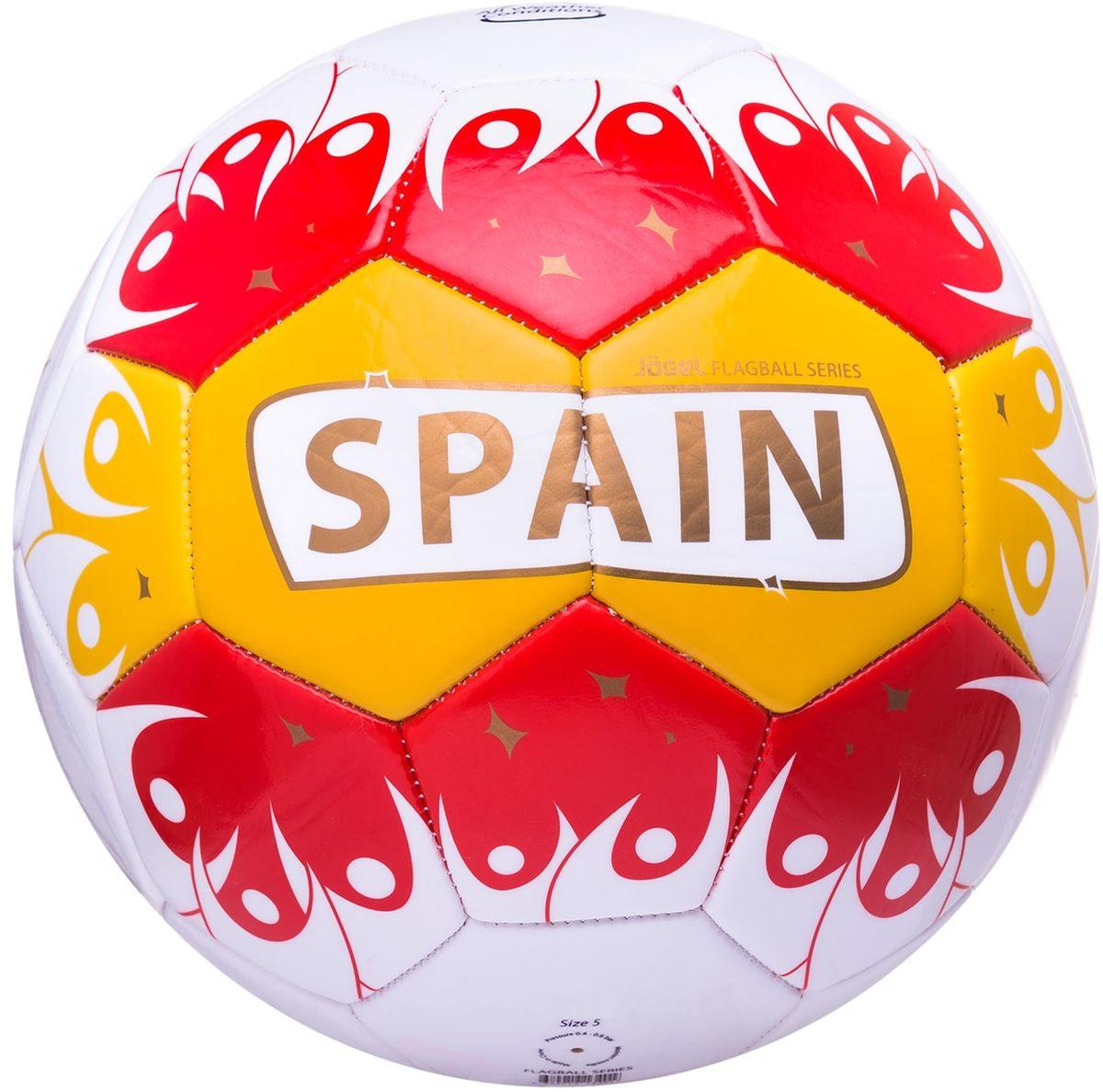 Мяч футбольный Jogel Spain, цвет: белый, желтый, красный. Размер 5УТ-00011395Категория: Мячи футбольныеУровень: ЛюбительскийJogel - это мячи из специальной коллекции, посвященной чемпионату мира по футболу 2018 года. В дизайне мячей данной линейки применяются цветовые решения флагов сильнейших сборных мира. Мячи придутся по душе всем любителям футбола и фанатам, которые захотят приобрести данные мячи в качестве сувенира. По своим характеристикам подходит как детям, так и взрослым. Поверхность мяча выполнена из синтетической кожи (поливинилхлорид) толщиной 2,7 мм. Мячи имеют 2 подкладочных слоя и оснащены бутиловой камерой, обеспечивающей долгое сохранение воздуха в камере. Данные мячи рекомендованы для любительской игры и тренировок любительских команд.Рекомендованные покрытия: натуральный газон, синтетическая трава, резина, гаревые поля, паркетТип соединения панелей: Машинная сшивкаКоличество панелей: 32Длина окружности: №5 - 68-70 смВес: 410-450 грРекомендованное давление: 0.4-0.6 бар