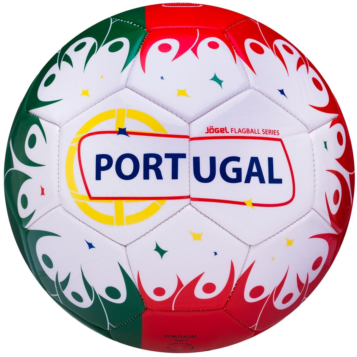 Мяч футбольный Jogel Portugal, цвет: белый, зеленый, красный. Размер 5УТ-00011396Категория: Мячи футбольныеУровень: ЛюбительскийJogel - это мячи из специальной коллекции, посвященной чемпионату мира по футболу 2018 года. В дизайне мячей данной линейки применяются цветовые решения флагов сильнейших сборных мира. Мячи придутся по душе всем любителям футбола и фанатам, которые захотят приобрести данные мячи в качестве сувенира. По своим характеристикам подходит как детям, так и взрослым. Поверхность мяча выполнена из синтетической кожи (поливинилхлорид) толщиной 2,7 мм. Мячи имеют 2 подкладочных слоя и оснащены бутиловой камерой, обеспечивающей долгое сохранение воздуха в камере. Данные мячи рекомендованы для любительской игры и тренировок любительских команд.Рекомендованные покрытия: натуральный газон, синтетическая трава, резина, гаревые поля, паркетМатериал поверхности: Синтетическая кожа (поливинилхлорид) толщиной 2,7 ммМатериал камеры: БутилТип соединения панелей: Машинная сшивкаКоличество панелей: 32Длина окружности: №5 - 68-70 смВес: 410-450 грРекомендованное давление: 0.4-0.6 барПроизводство: КНР