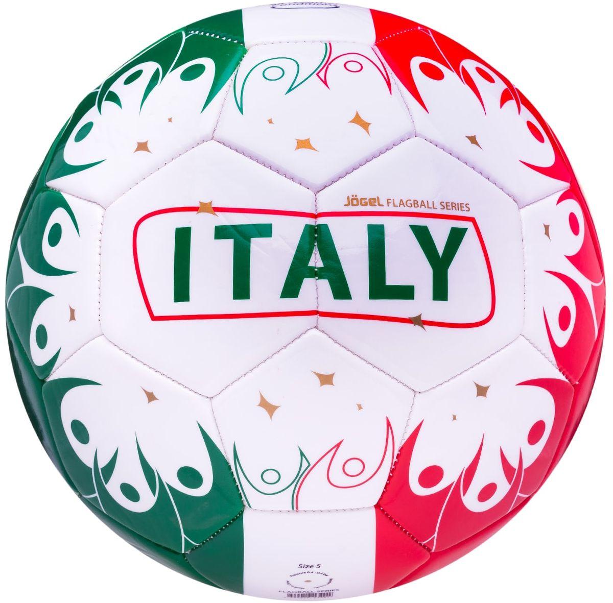 Мяч футбольный Jogel Italy, цвет: белый, красный, зеленый. Размер 5УТ-00011397Категория: Мячи футбольныеУровень: Любительский Jogel - это мячи из специальной коллекции, посвященной чемпионату мира по футболу 2018 года. В дизайне мячей данной линейки применяются цветовые решения флагов сильнейших сборных мира. Мячи придутся по душе всем любителям футбола и фанатам, которые захотят приобрести данные мячи в качестве сувенира. По своим характеристикам подходит как детям, так и взрослым. Поверхность мяча выполнена из синтетической кожи (поливинилхлорид) толщиной 2,7 мм. Мячи имеют 2 подкладочных слоя и оснащены бутиловой камерой, обеспечивающей долгое сохранение воздуха в камере. Данные мячи рекомендованы для любительской игры и тренировок любительских команд.Рекомендованные покрытия: натуральный газон, синтетическая трава, резина, гаревые поля, паркетМатериал поверхности: Синтетическая кожа (поливинилхлорид) толщиной 2,7 ммМатериал камеры: БутилТип соединения панелей: Машинная сшивкаКоличество панелей: 32Длина окружности: №5 - 68-70 смВес: 410-450 грРекомендованное давление: 0.4-0.6 барПроизводство: КНР