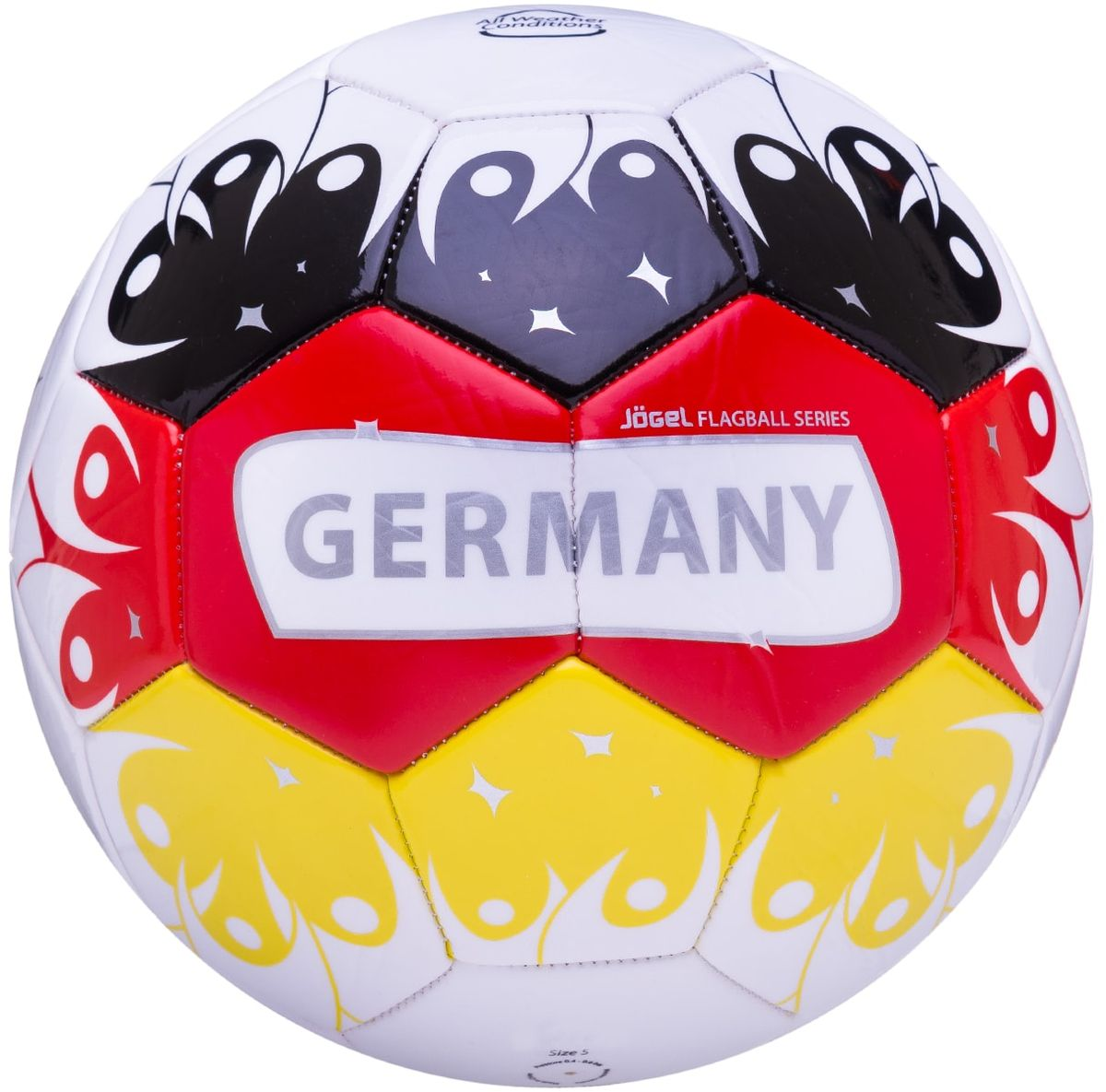 Мяч футбольный Jogel Germany, цвет: белый, черный, желтый, красный. Размер 5УТ-00011399Категория: Мячи футбольные Уровень: Любительский Jogel - это мячи из специальной коллекции, посвященной чемпионату мира по футболу 2018 года. В дизайне мячей данной линейки применяются цветовые решения флагов сильнейших сборных мира. Мячи придутся по душе всем любителям футбола и фанатам, которые захотят приобрести данные мячи в качестве сувенира. По своим характеристикам подходит как детям, так и взрослым. Поверхность мяча выполнена из синтетической кожи (поливинилхлорид) толщиной 2,7 мм. Мячи имеют 2 подкладочных слоя и оснащены бутиловой камерой, обеспечивающей долгое сохранение воздуха в камере. Данные мячи рекомендованы для любительской игры и тренировок любительских команд. Рекомендованные покрытия: натуральный газон, синтетическая трава, резина, гаревые поля, паркет Материал поверхности: Синтетическая кожа (поливинилхлорид) толщиной 2,7 мм Материал камеры: Бутил Тип соединения панелей: Машинная сшивка Количество панелей: 32 Длина окружности: №5 - 68-70 см Вес: 410-450 гр Рекомендованное давление: 0.4-0.6 бар Производство: КНР