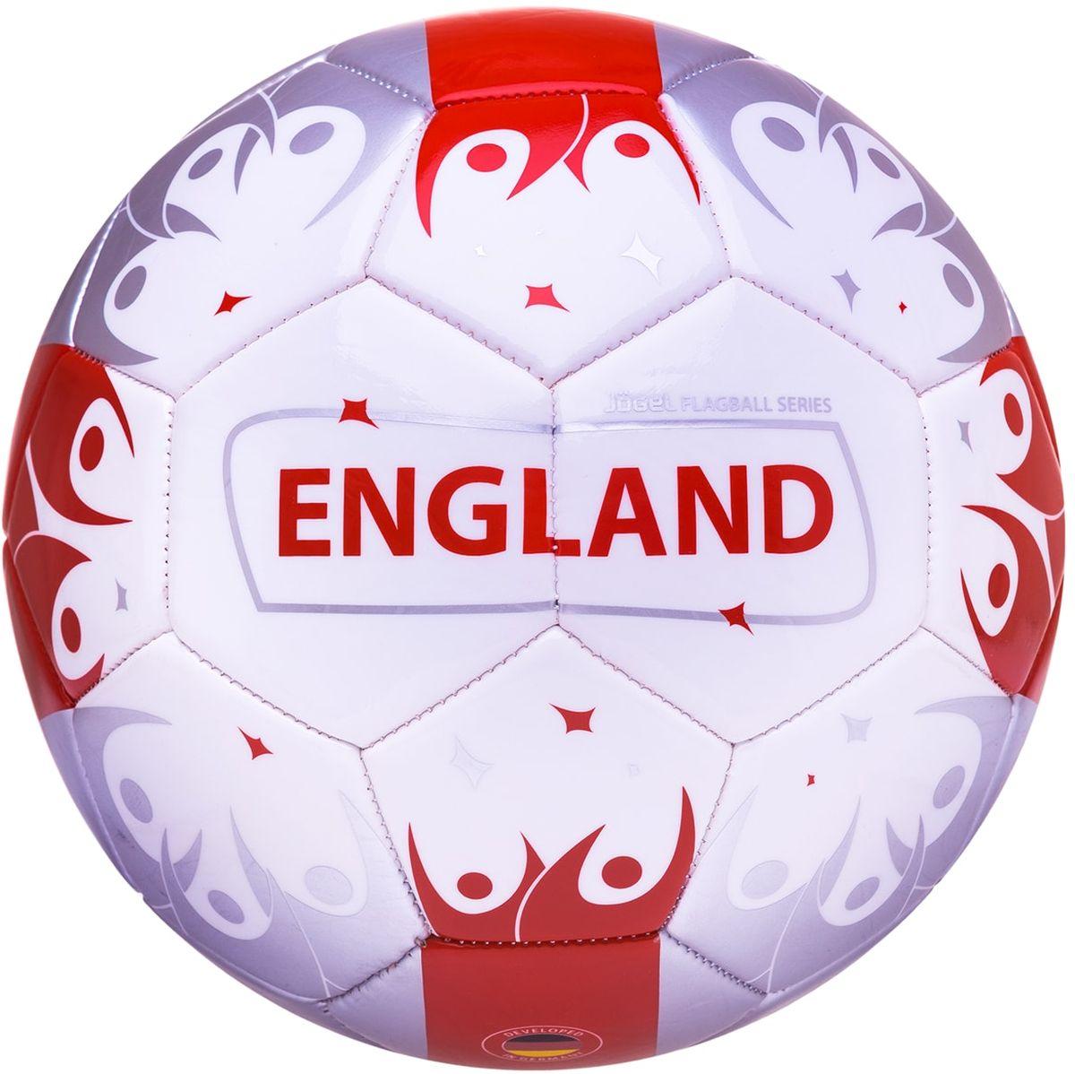 Мяч футбольный Jogel England, цвет: белый, красный. Размер 5УТ-00011400Категория: Мячи футбольныеУровень: ЛюбительскийJogel это мячи из специальной коллекции, посвященной чемпионату мира по футболу 2018 года. В дизайне мячей данной линейки применяются цветовые решения флагов сильнейших сборных мира. Мячи придутся по душе всем любителям футбола и фанатам, которые захотят приобрести данные мячи в качестве сувенира. По своим характеристикам подходит как детям, так и взрослым. Поверхность мяча выполнена из синтетической кожи (поливинилхлорид) толщиной 2,7 мм. Мячи имеют 2 подкладочных слоя и оснащены бутиловой камерой, обеспечивающей долгое сохранение воздуха в камере. Данные мячи рекомендованы для любительской игры и тренировок любительских команд.Рекомендованные покрытия: натуральный газон, синтетическая трава, резина, гаревые поля, паркет.Материал камеры: БутилТип соединения панелей: Машинная сшивкаКоличество панелей: 32Длина окружности: №5 - 68-70 смВес: 410-450 грРекомендованное давление: 0.4-0.6 барПроизводство: КНР