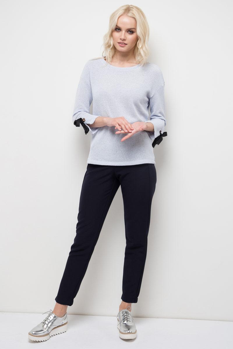 Джемпер женский Sela, цвет: пыльно-лавандовый меланж. T-111/789-8110. Размер S (44)T-111/789-8110Джемпер женский Sela выполнен из полиэстера и хлопка. Модель с круглым вырезом горловины и длинными рукавами.