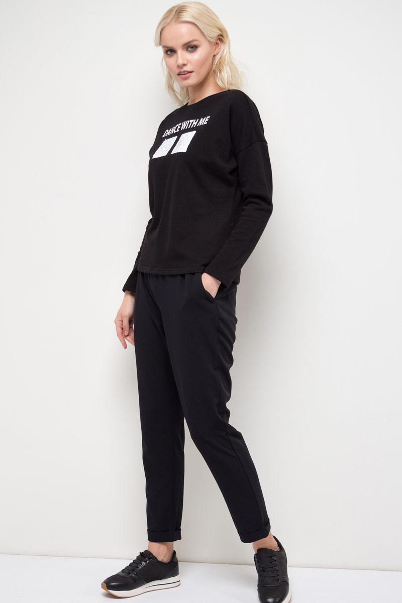 Джемпер женский Sela, цвет: черный. T-311/967-8111. Размер S (44)T-311/967-8111Джемпер женский Sela выполнен из полиэстера и хлопка. Модель с круглым вырезом горловины и длинными рукавами.