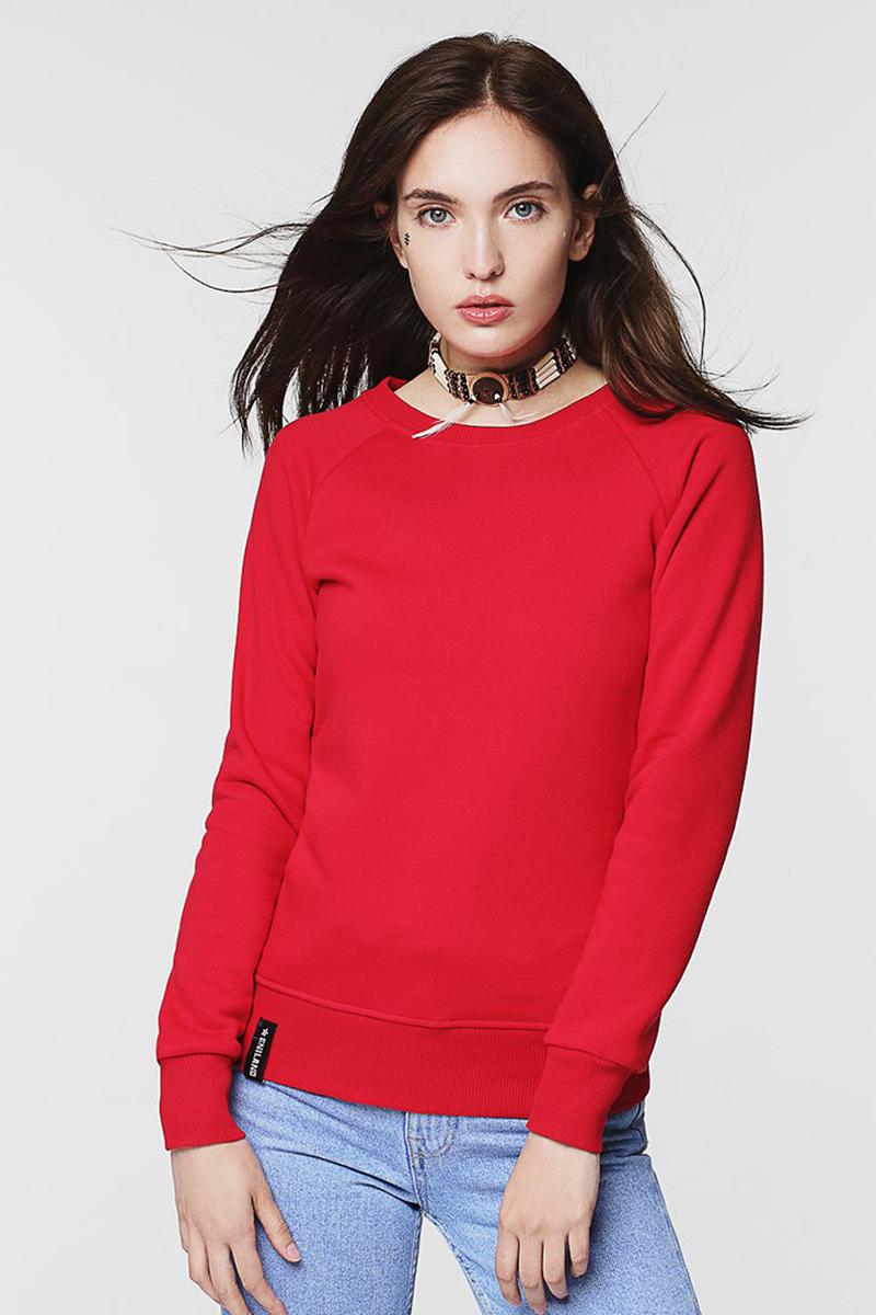 Свитшот женский Eniland, цвет: красный. 70061723. Размер S (42)70061723Однотонный женский свитшот Eniland выполнен из хлопка с добавлением полиэстера. Модель имеет длинные рукава-реглан и круглый вырез горловины. Низ изделия и манжеты рукавов дополнены трикотажными резинками.