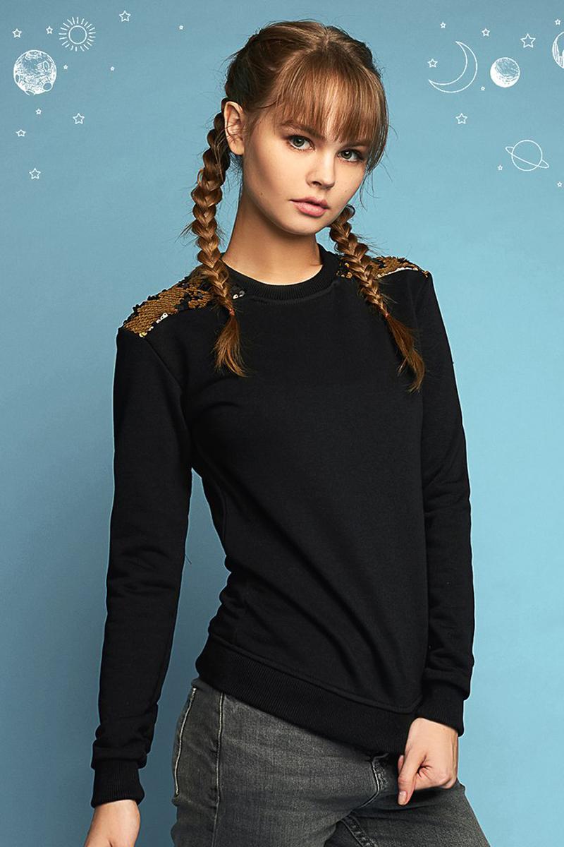 Купить Свитшот женский Eniland, цвет: черный. 11031746. Размер M (44)