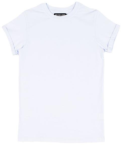 Футболка женская Eniland, цвет: белый. 12111535. Размер L (46)12111535Однотонная базовая футболка Eniland выполнена из хлопка с добавлением эластана. Модель имеет короткие рукава с подворотами и круглый вырез горловины.