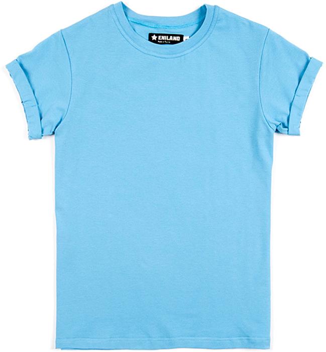 Футболка женская Eniland, цвет: голубой. 17121633. Размер XS (40)17121633Однотонная базовая футболка Eniland выполнена из хлопка с добавлением эластана. Модель имеет короткие рукава с подворотами и круглый вырез горловины.