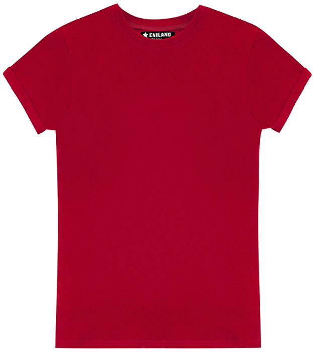 Футболка женская Eniland, цвет: красный. 28061703. Размер S (42)28061703Однотонная базовая футболка Eniland выполнена из хлопка с добавлением эластана. Модель имеет короткие рукава с подворотами и круглый вырез горловины.