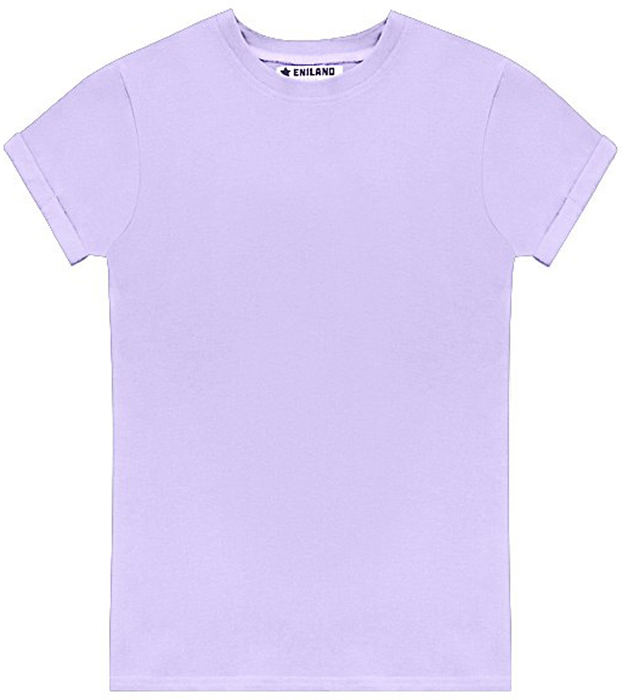Футболка женская Eniland, цвет: лаванда. 28061702. Размер L (46)28061702Однотонная базовая футболка Eniland выполнена из хлопка с добавлением эластана. Модель имеет короткие рукава с подворотами и круглый вырез горловины.