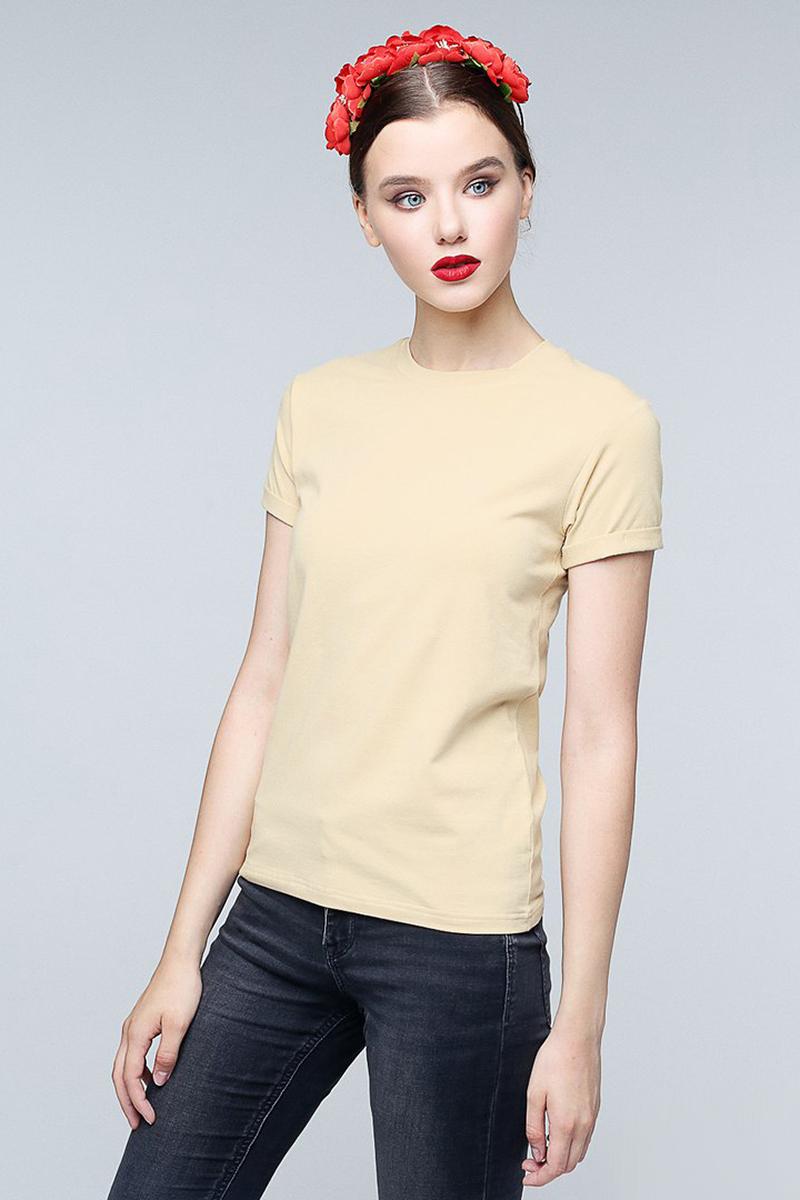 Футболка женская Eniland, цвет: песок. 90091719. Размер M (44)90091719Однотонная базовая футболка Eniland выполнена из хлопка с добавлением эластана. Модель имеет короткие рукава и круглый вырез горловины.