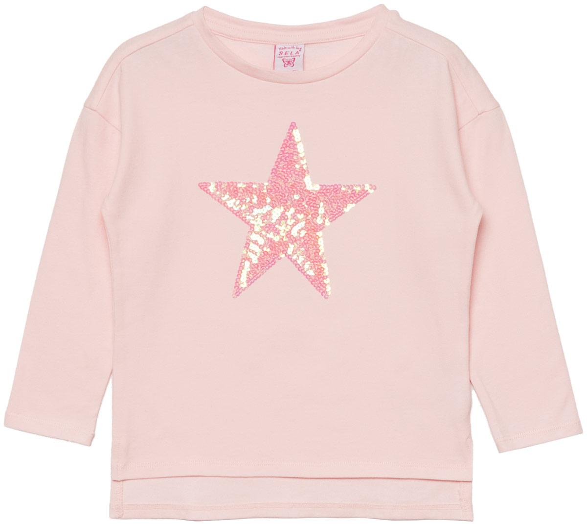 Джемпер для девочки Sela, цвет: розовый. T-511/453-8110. Размер 116T-511/453-8110Джемпер для девочки Sela выполнен из хлопка и эластана. Модель с круглым вырезом горловины и длинными рукавами.