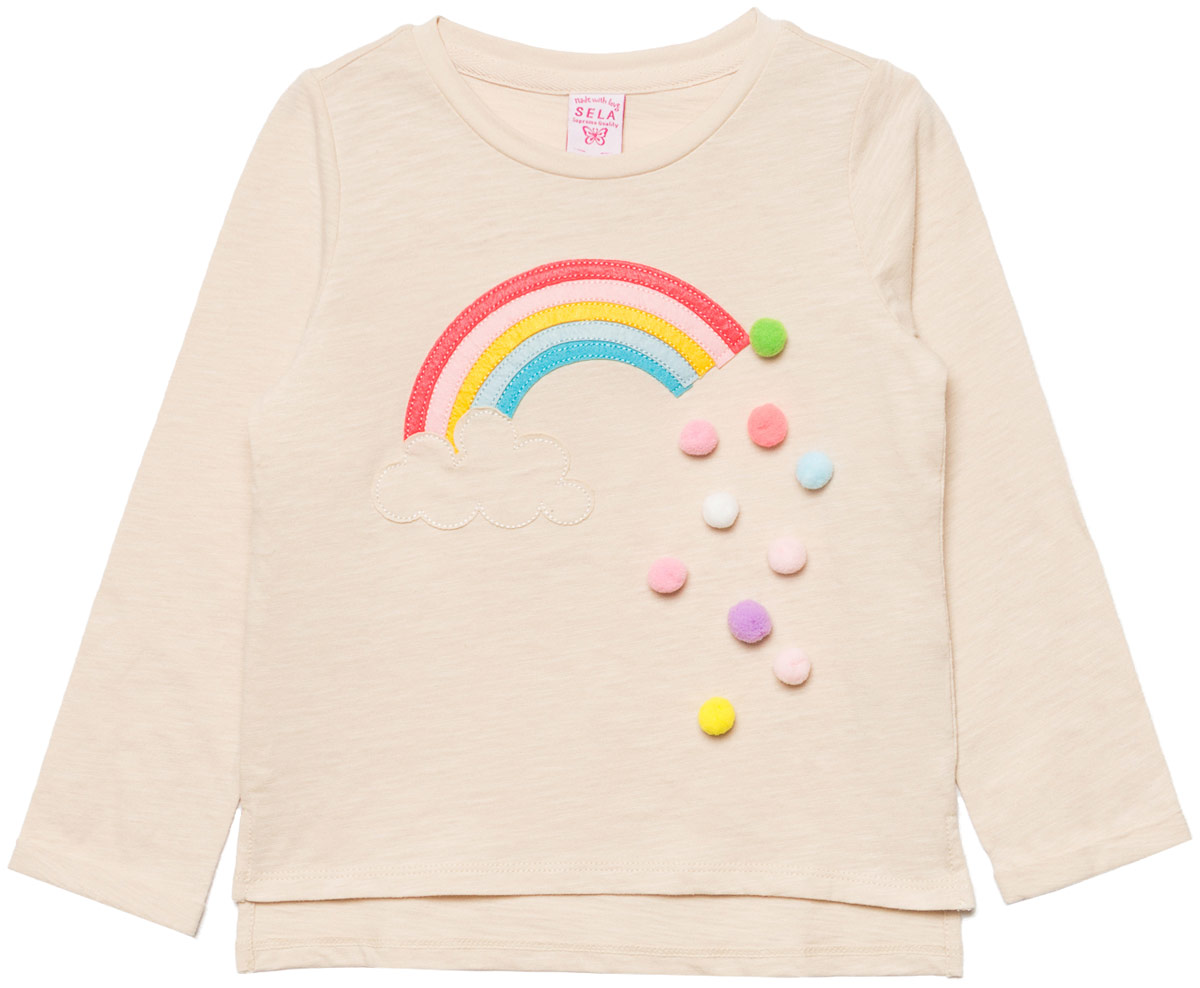 Джемпер для девочки Sela, цвет: кремовый. T-511/459-8111. Размер 110T-511/459-8111Джемпер для девочки Sela выполнен из натурального хлопка. Модель с круглым вырезом горловины и длинными рукавами.