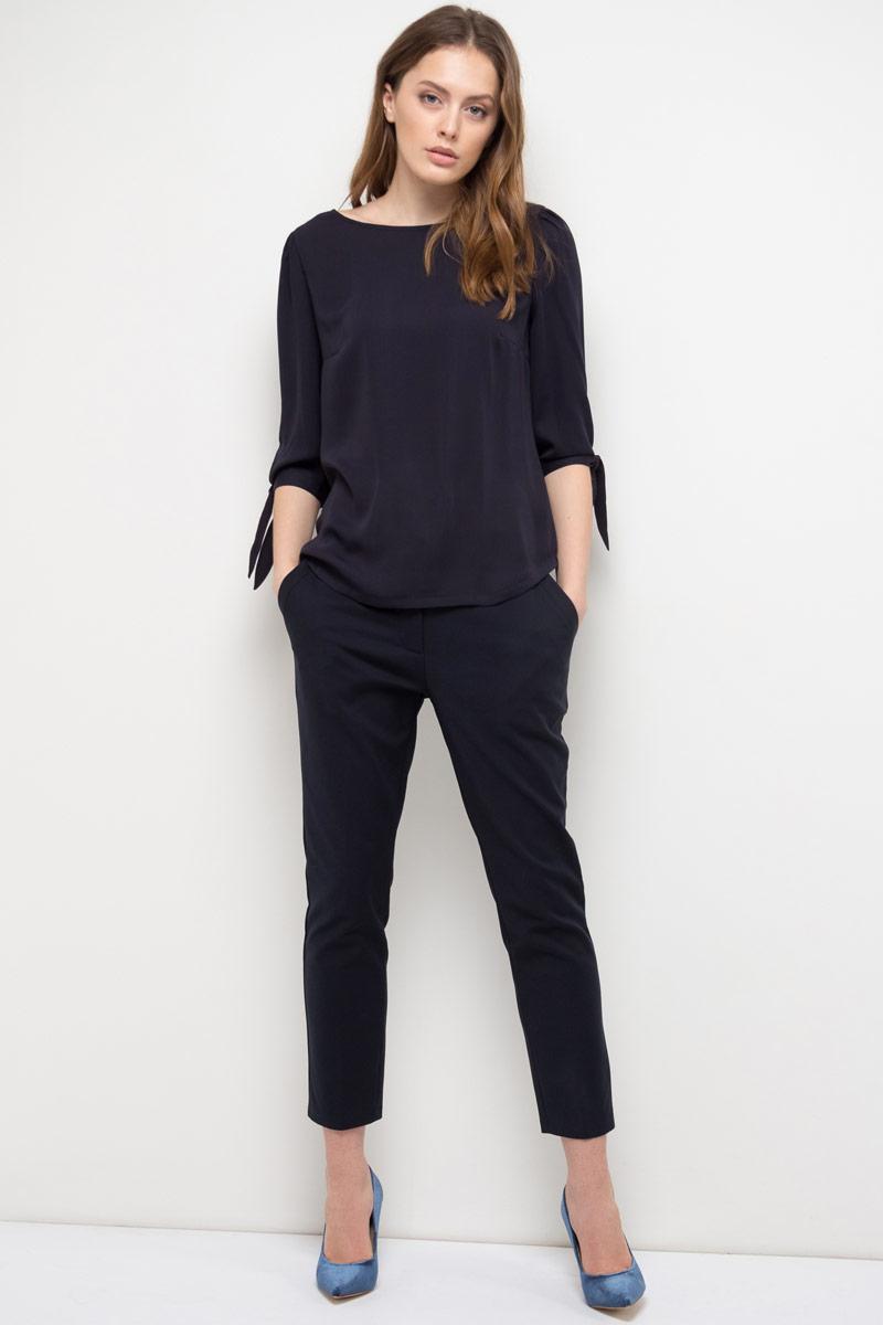 Блузка женская Sela, цвет: темно-синий. Tc-111/966-8110. Размер 42Tc-111/966-8110Блузка женская Sela выполнена из полиэстера. Модель с круглым вырезом горловины и длинными рукавами.