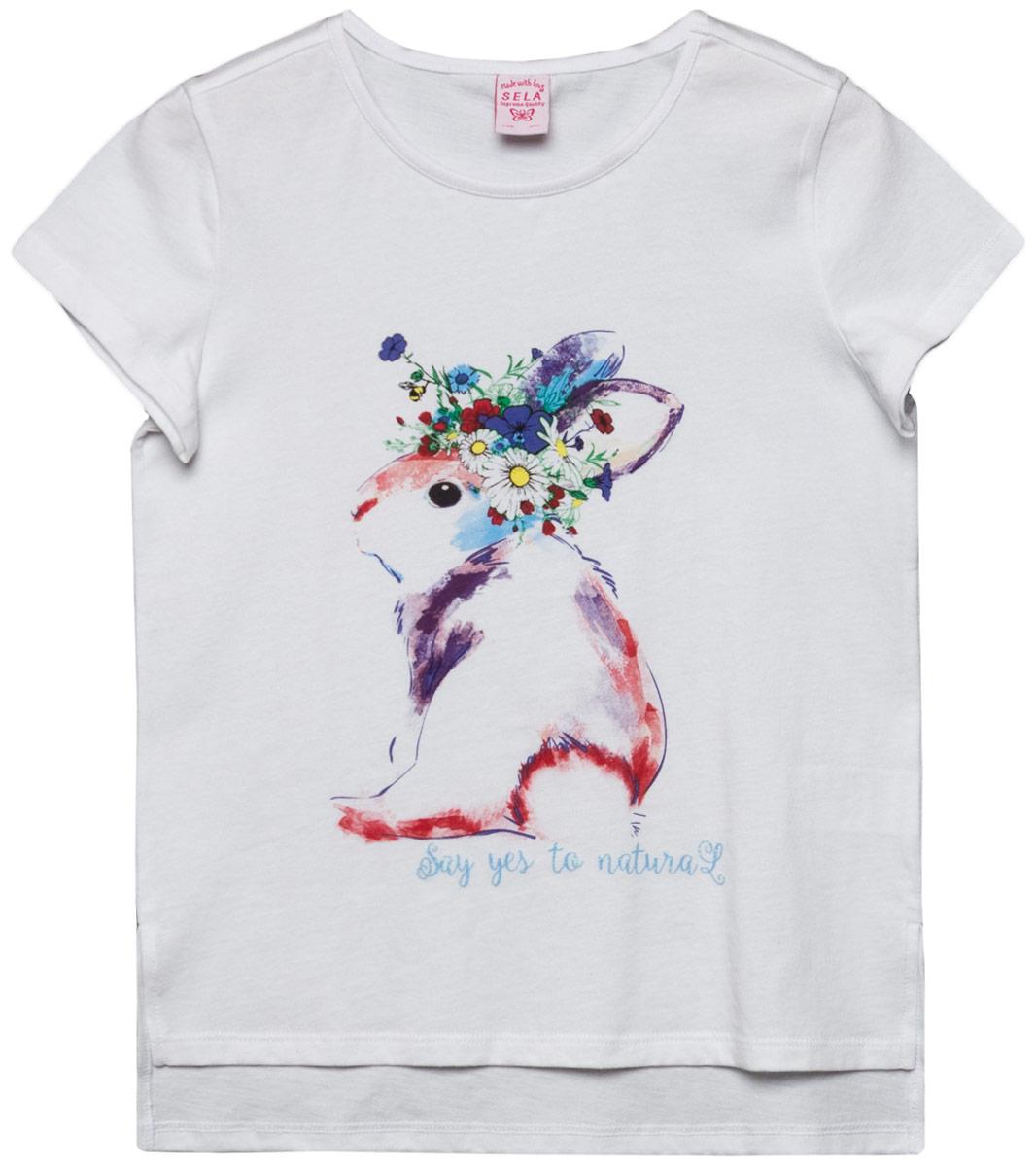 Футболка для девочки Sela, цвет: белый. Ts-611/1208-8131. Размер 152Ts-611/1208-8131Футболка для девочки выполнена из натурального хлопка. Модель с круглым вырезом горловины и короткими рукавами.
