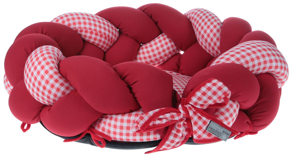 """Лежак для животных Fabotex """"Melody"""", цвет: красный, белый, диаметр 65 см"""