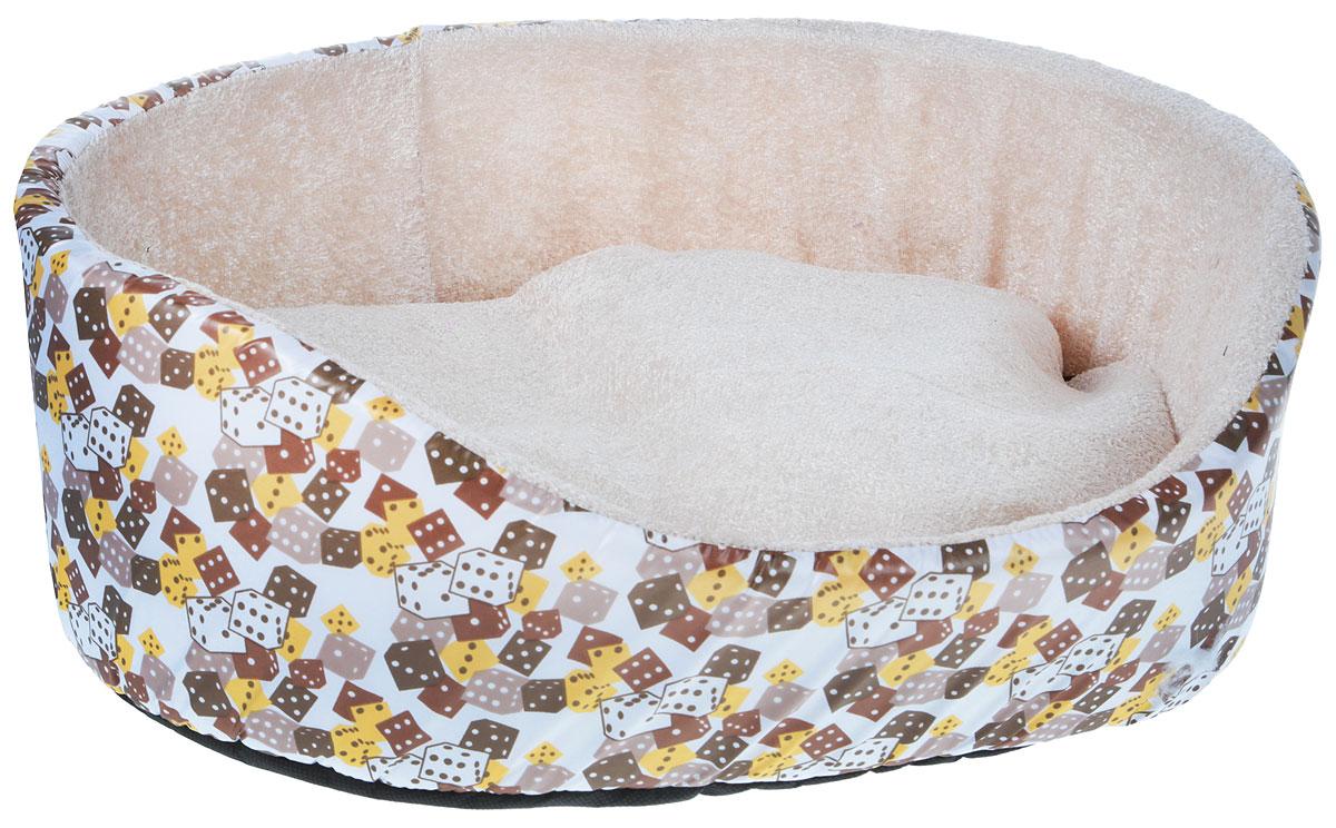 Лежак для кошек и собак GLG Нежность, цвет: белый, кремовый, коричневый, 48 x 40 x 16 смPPSCAЛежак для животных GLG Нежность прекрасно подойдет для отдыха вашего домашнегопитомца. Предназначен для собак мелких пород и кошек.Изделие выполнено извысококачественного текстильного материала, а наполнителем является мягкий поролон. Такойматериал не теряет своей формы долгое время.Внутри имеется мягкая съемная подушка- подстилка.Роскошный уютный лежак GLG Нежность станет излюбленным местом отдыхадля вашего питомца, а стильный дизайн сделает его настоящим украшением интерьера.Размер лежака: 48 х 40 х 16 см.