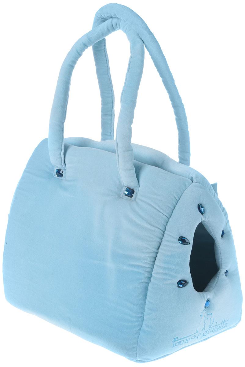 Сумка-переноска для животных Camon  Плюш , цвет: голубой, 35 x 25 x 28 см. Размер М