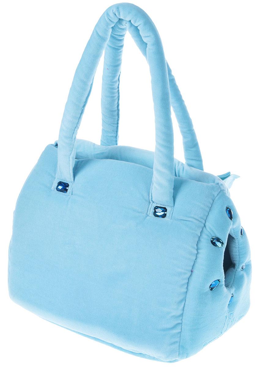 Сумка-переноска для животных Camon  Плюш , цвет: голубой, 30 x 18 x 23 см. Размер S