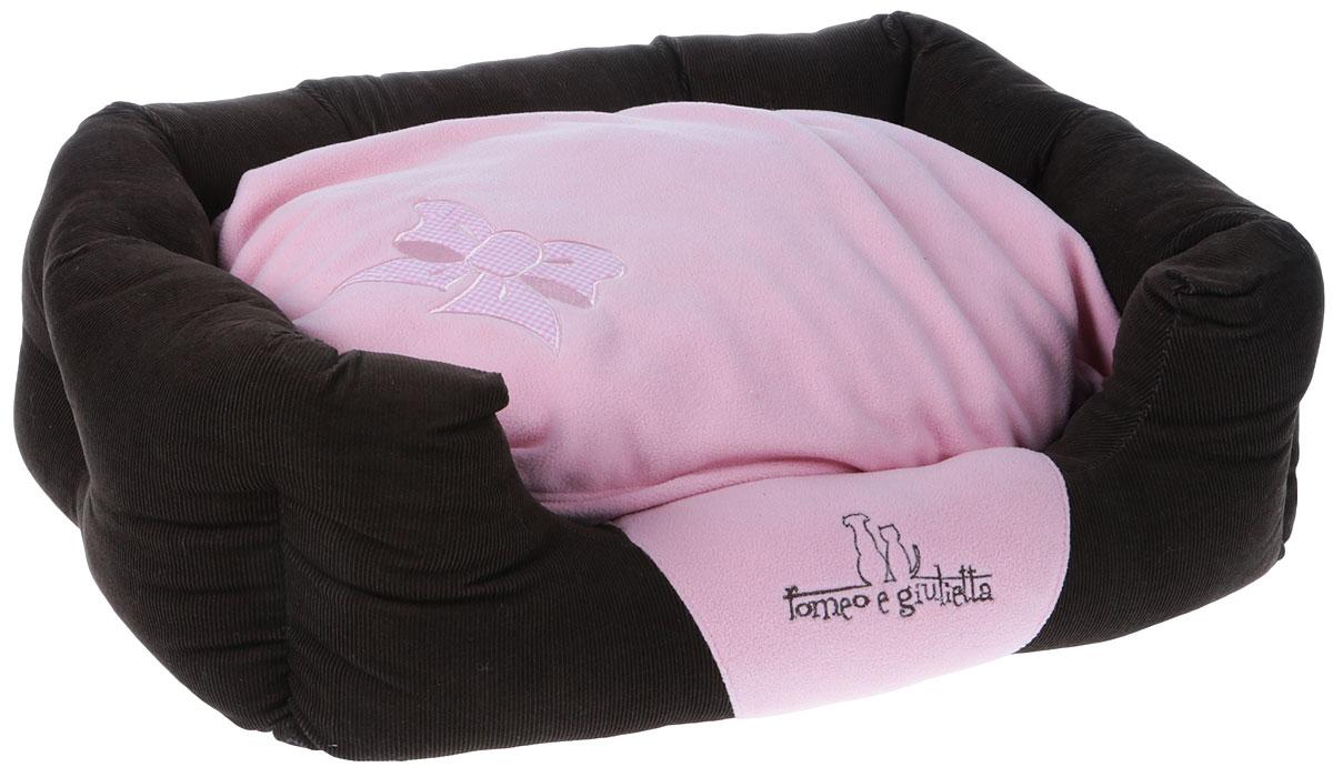 """Лежак для животных """"Camon"""", цвет: розовый, коричневый, 60 х 45 x 18 см"""