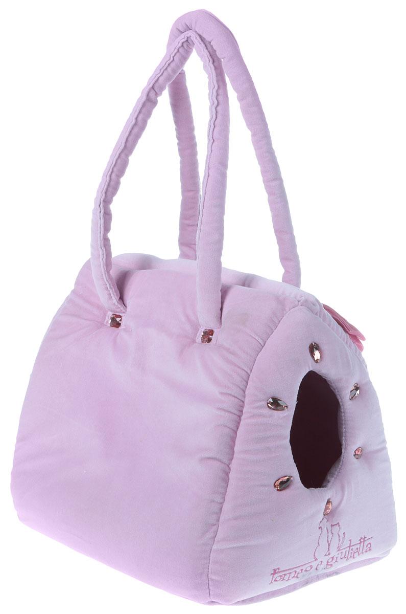 Сумка-переноска для животных Camon Плюш, цвет: розовый, 35 x 25 x 28 см. Размер МCC009/01-MСумка-переноска Camon Плюш предназначена для собак мелких пород и кошек. Изделие выполнено из мягкого текстильного материала, имеет одно отделение с верхним и боковым отверстием. Основание переноски выполнено с плотным дном. Лицевая сторона сумки-переноски оформлена декорированными стразами и фирменной нашивкой с названием бренда. На задней стенке имеется дополнительный карман.Боковые стенки изделия дополнены удобными для переноски ручками, которые также оформлены стразами и бархатным бантиком.Внутри сумки-переноски находится короткий поводок, который не позволит животному выпрыгнуть при открытии сумки. Сумка-переноска Camon Плюш обязательно понравится вашим домашним любимцам и сделает любую поездку наиболее комфортной.Рекомендована ручная стирка при температуре 30 градусов. Размеры: 35 x 25 x 28 см.