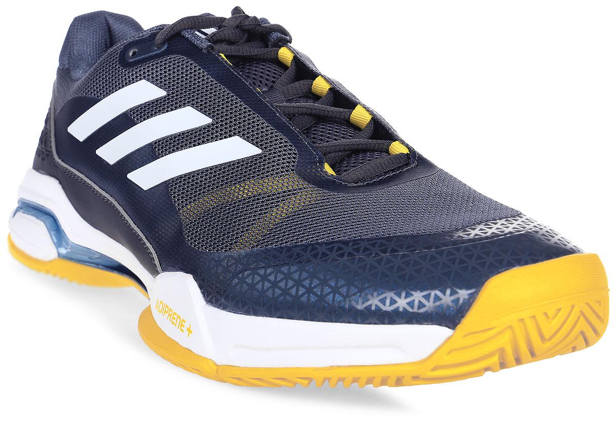 Кроссовки для тенниса мужские Adidas Barricade Club, цвет: серый, белый. BY1638. Размер 13,5 (48)BY1638Контролируй ход игры и побеждай в каждом сете. Эти мужские теннисные кроссовки Adidas Barricade Club с амортизацией boost возвращают энергию каждого шага и обеспечивают устойчивость на любой поверхности даже на высоких скоростях. Бесшовный вязаный верх плотно обхватывает ногу, обеспечивая надежную посадку. Вязаный верх естественным образом растягивается, адаптируясь под форму стопы, и таким образом снижает риск раздражения кожи и обеспечивает комфортную посадку; бесшовная конструкция подкладки плотно облегает стопу для комфортной посадки. Износостойкая вставка ADITUFF в передней и средней части кроссовка защищает стопу от пробуксовки и подворачивания во время подач, ударов с лета и резких боковых движений. Гибкий мысок позволяет пальцам двигаться естественно. Каркас BARRICADE поддерживает и стабилизирует среднюю часть стопы во время динамичных маневров на корте. Анатомическая конструкция GEOFIT для комфорта; слегка расширенная передняя часть. Исключительно износостойкая подошва ADIWEAR.