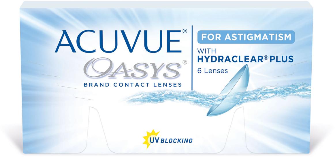 Johnson & Johnson контактные линзы Acuvue Oasys for Astigmatism/Диоптрии -1.00/Радиус 8.6/Цилиндр -0.75/Ось 70100004406with Hydraclear, 6 линз в упаковке