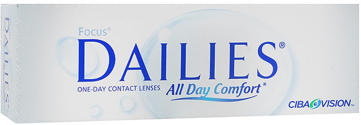 Alcon-CIBA Vision контактные линзы Focus Dailies All Day Comfort (30шт / 8.6 / -1.25)03786Focus Dailies All Day Comfort - это однодневные контактные линзы от всемирно известного производителя Ciba Vision. Эти линзы не нуждаются в уходе и не требуют дополнительных расходов. Контактные линзы обладают идеальной точностью и подходят более чем 90% людей, нуждающихся в коррекции зрения. Focus Dailies All Day Comfort изготавливаются из нейлонового материала нелфилкон А. Этот современный и безопасный материал дарит вам ощущение полного комфорта на весь день. Для большего удобства в обращении линзы имеют слабую тонировку. Неоспоримым достоинством Focus Dailies All Day Comfort является запатентованная технология компании Ciba Vision - Aqua Comfort. Внутри линзы содержится увлажняющий агент, который выделяется при моргании. Это позволяет вашим глазам оставаться увлажненными в течение всего срока ношения. Focus Dailies All Day Comfort изготавливаются совершенно новым методом Light Technology, благодаря чему линзы получаются сверхтонкими с идеально ровными краями. Стоит отметить, что края линзы на 48% тоньше, чем у ближайших конкурентов. Focus Dailies All Day Comfort - это линзы, обладающие высокими показателями комфорта и имеющие идеальную посадку. Они идеально подойдут вам, если вы живете насыщенной жизнью. Рекомендованы для чувствительных глаз. Характеристики:Материал: нелфилкон А. Кривизна: 8.6. Оптическая сила: - 1.25. Содержание воды: 69%. Диаметр: 13,8 мм. Количество линз: 30 шт. Размер упаковки: 15 см х 5 см х 3 см. Производитель: США. Товар сертифицирован.Контактные линзы или очки: советы офтальмологов. Статья OZON Гид