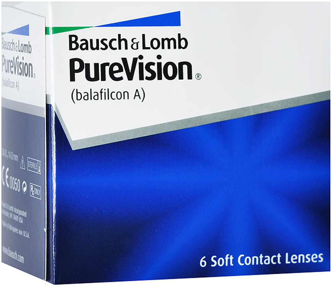 Bausch + Lomb контактные линзы PureVision (6шт / 8.6 / -5.50)ФМ000003396Контактные линзы Pure Vision - это революционная разработка компании Bausch+Lomb!Использование новейших технологий дает возможность носить эту модель на протяжении месяца, не снимая. Ваши глаза не будут подвержены раздражению благодаря очень высокой кислородопроницаемости линз и особой конструкции линзы. Вам больше не придется надевать контактные линзы каждое утро, а вечером снимать их. Стоит лишь раз надеть линзы и заменить их новой парой через 30 дней.Технология AerGel используемая в Pure Vision, обеспечивает естественный уровень поступления кислорода к роговице глаза. Это достигается за счет соединения силикона и уникального гидрогеля. Технология обработки поверхности Performa делает контактные линзы постоянно увлажненными, повышает устойчивость к отложениям, делает зрение пациента максимально острым. Революционная конструкция линз Pure Vision позволяет улучшить подвижность, делает линзы очень тонкими и гладкими. Контактные линзы имеют подкраску для простоты использования.Внимание: плюсовые диоптрии производятся только в радиусе кривизны 8.3.Замена через 1 месяц. Характеристики:Материал: балафилкон А. Кривизна: 8.6. Оптическая сила: - 5.50. Содержание воды: 36%. Диаметр: 14 мм. Количество линз: 6 шт. Размер упаковки: 7,5 см х 7 см х 4 см. Производитель: США. Товар сертифицирован.Контактные линзы или очки: советы офтальмологов. Статья OZON Гид