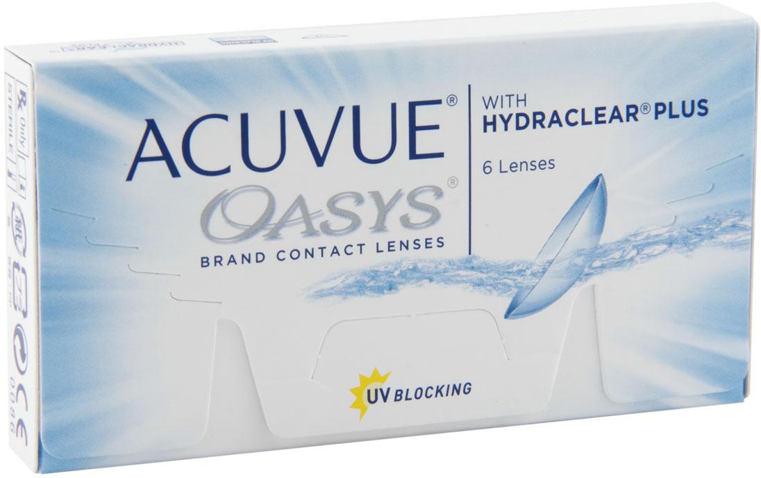 Johnson & Johnson контактные линзы Acuvue Oasys (6шт / 8.8 / -5.75)31020Acuvue Oasys with Hydraclear Plus являются двухнедельными контактными линзами, которые производит компания Johnson & Johnson. Эти линзы отлично подойдут людям, которые много времени проводят в сухих помещениях или людям которые вынуждены долго работать за компьютером. Технология Hydraclear Plus придает контактным линзам невероятно гладкий и мягкий эффект, создав максимально комфортные условия для ношения. А увлажняющий запатентованный агент внутри линзы, позволит вашим глазам быть увлажненными в течение всего дня. Acuvue Oasys создают из силиконо-гидрогелевого материала. Главной его особенностью остается высокий уровень поступления кислорода. Это позволит вашим глазам быть всегда здоровыми. Кроме этого линзы снабдили УФ-фильтром, который способен сдерживать УФ-A лучи (более 95%) и УФ-В лучи (99%). Можно носить Acuvue Oasys две недели, при этом дневной режим ношения не должен превышать 12 часов, либо можно носить постоянно 7 дней. Контактная линза Acuvue Oasys является лучшим решением для людей, кто испытывает постоянное напряжение глаз.Дневное ношение - замена через 2 недели. Пролонгированное ношение - замена через 1 неделю. УФ защита. Характеристики:Материал: сенофилкон А. Кривизна: 8.8. Оптическая сила: - 5.75. Содержание воды: 38%. Диаметр: 14 мм. Количество линз: 6 шт. Размер упаковки: 9,5 см х 5 см х 1,5 см. Производитель: США. Товар сертифицирован.Контактные линзы или очки: советы офтальмологов. Статья OZON Гид