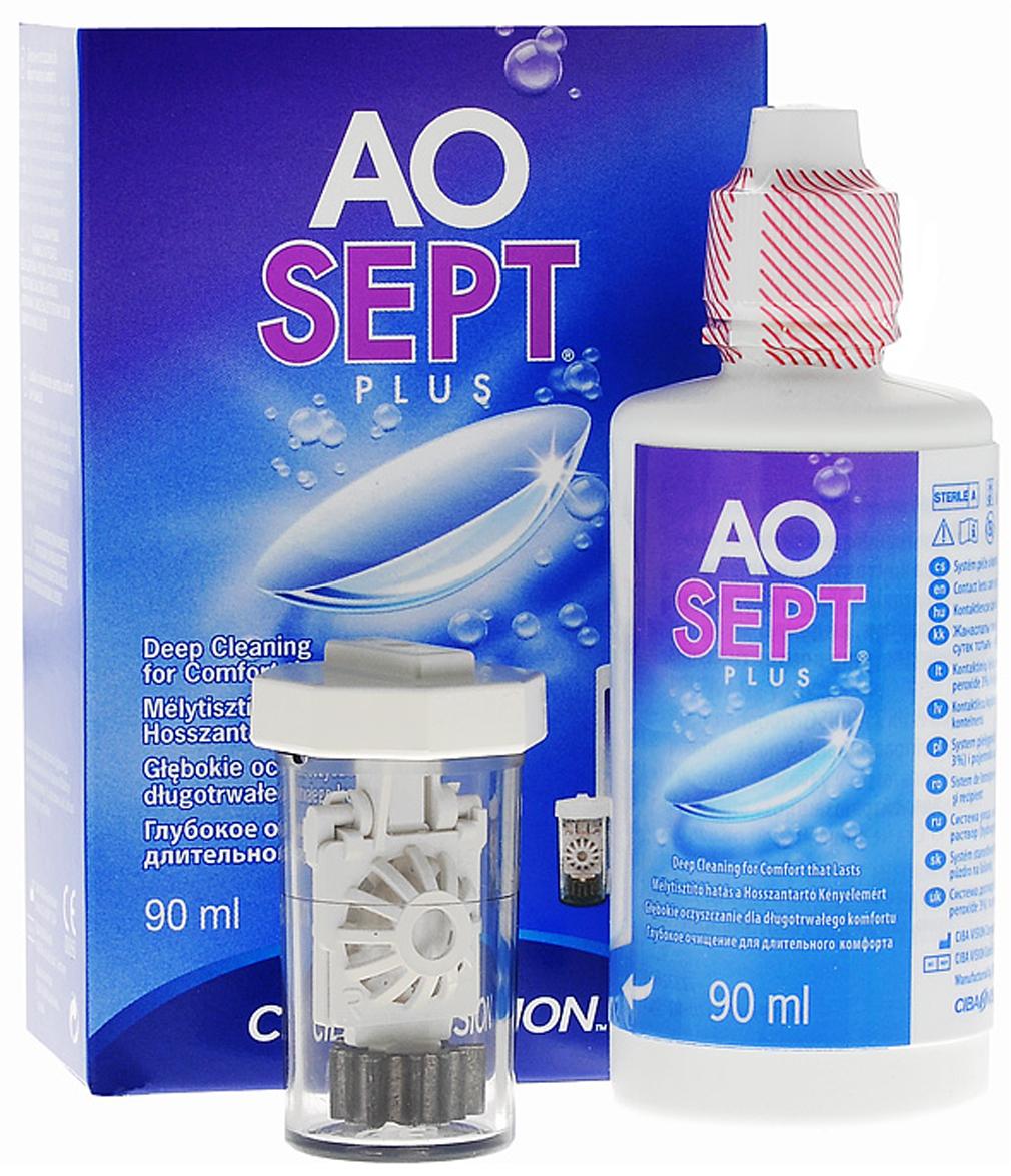 Aosept Plus Раствор для контактных линз, с катализатором, 90 мл, Alcon