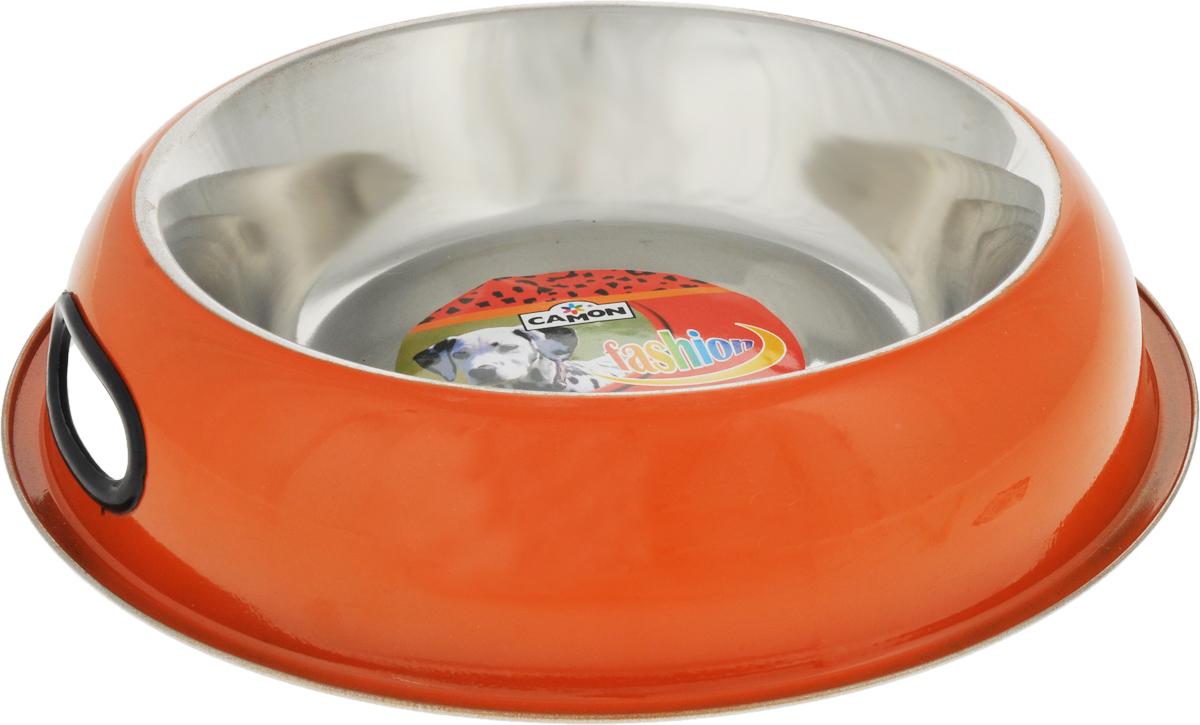 Миска для собак Camon, с противоскользящим дном, цвет: оранжевый, 950 млC050/DМиска для собак Camon, изготовленная из высококачественного металла, имеет однотонный дизайн. Изделие подойдет для сухого корма, консервов или воды. Основание миски оснащено силиконовой накладкой, которая предотвратит скольжение и повреждение пола.Модель дополнена боковыми отверстиями, с помощью которых можно удобно переносить миску.Диаметр миски по верхнему краю: 19 см.Объем: 950 мл.