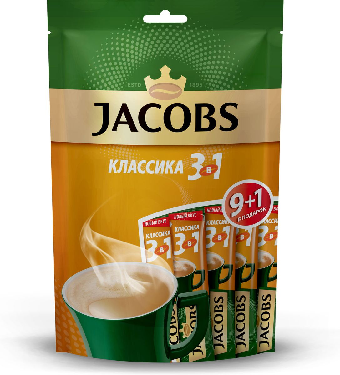 Jacobs Классика 3 в 1 напиток кофейный растворимый в стиках, 10 шт кофейный напиток nescafe 3 в 1 мягкий сливочный вкус порционный