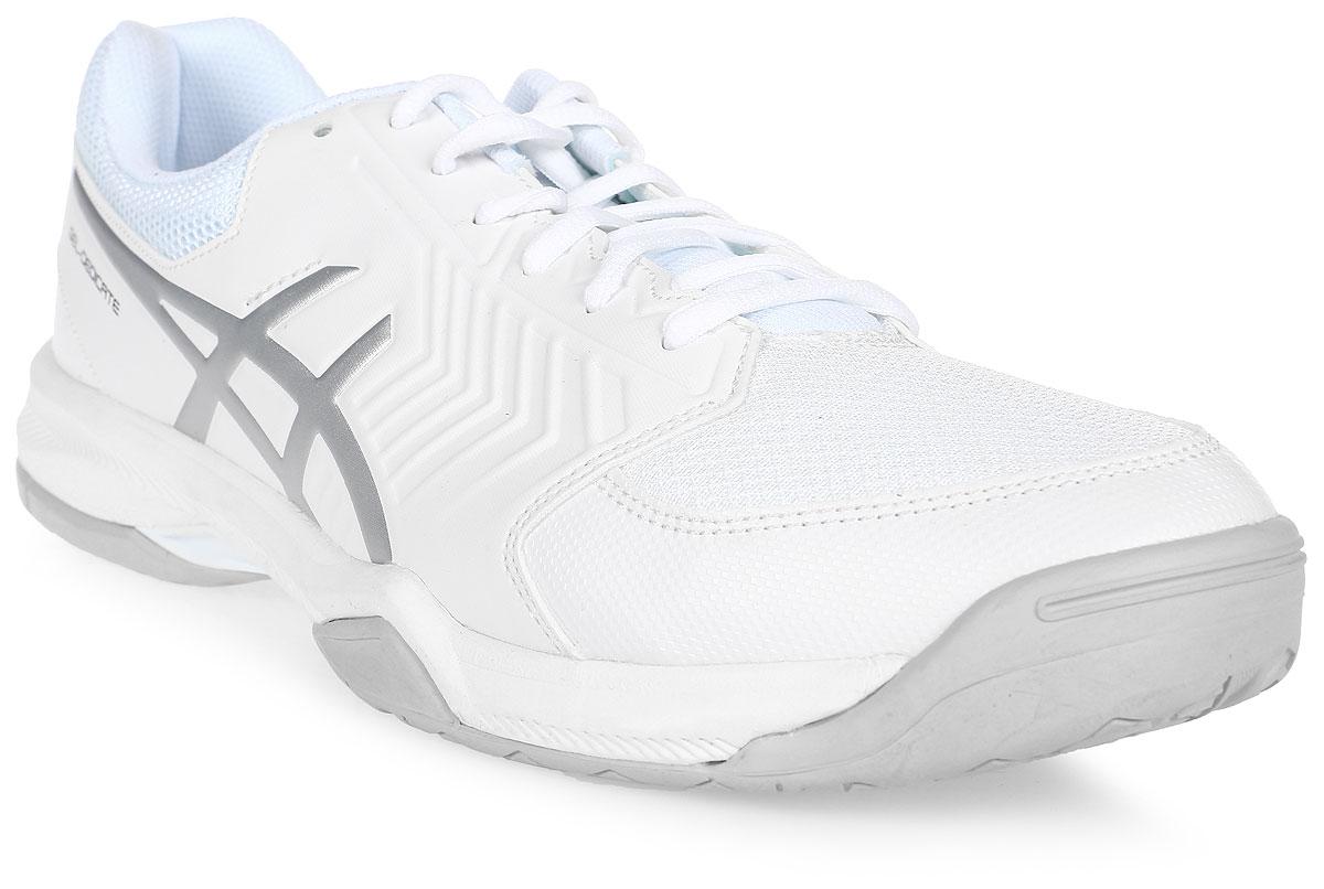 Кроссовки для тенниса мужские Asics Gel-Dedicate 5, цвет: белый, серебристый. E707Y-0193. Размер 12H (45,5)E707Y-0193Усиленная структура со всех сторон стопы делает кроссовки Asics Gel-Dedicate 5 идеальными для тенниса вне зависимости от того, являетесь ли вы новичком или играете достаточно регулярно. Эти теннисные кроссовки с технологией Asics дарят комфорт и обеспечивают устойчивость от первой подачи до матч-пойнта.Подрезай, отходи, гаси – весь корт твой. С системой амортизации в передней части стопы Asics Forefoot GEL Cushioning System, однородной резиновой поверхностью подошвы и гибким верхом эти теннисные кроссовки снижают отдачу при резких движениях и обеспечивают максимальный комфорт и точную посадку по ноге. Кроссовки Asics Gel-Dedicate 5 - идеальный выбор для игроков в теннис, которым нужна соответствующая обувь.
