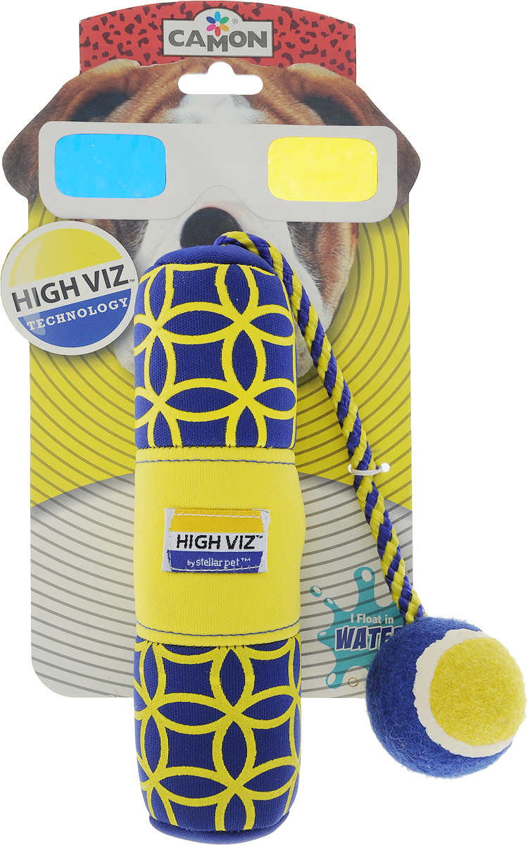 Игрушка для собак Camon HighViz, с пищалкой, на веревке, длина 19 см игрушка для животных camon тапочки с пищалкой цвет серый черный белый 12 х 10 х 3 см