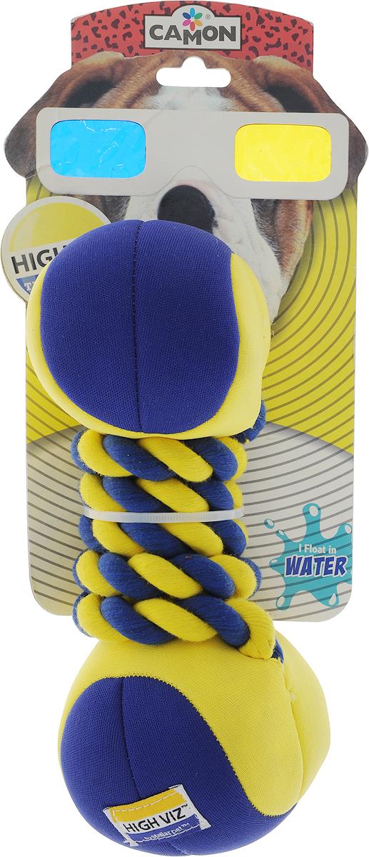 Игрушка для собак Camon HighViz. Гантель с веревкой, с пищалкой, длина 22 смAH503/GМягкая игрушка для животных Camon HighViz. Гантель с веревкой, изготовленная из высококачественных материалов, выполнена в виде гантели и оснащена пищалкой, что вызовет дополнительный интерес вашего питомца.Такая игрушка порадует вашего любимца, а вам доставит массу приятных эмоций, ведь наблюдать за игрой всегда интересно и приятно. Размер косточки: 20 х 8 х 8 см.