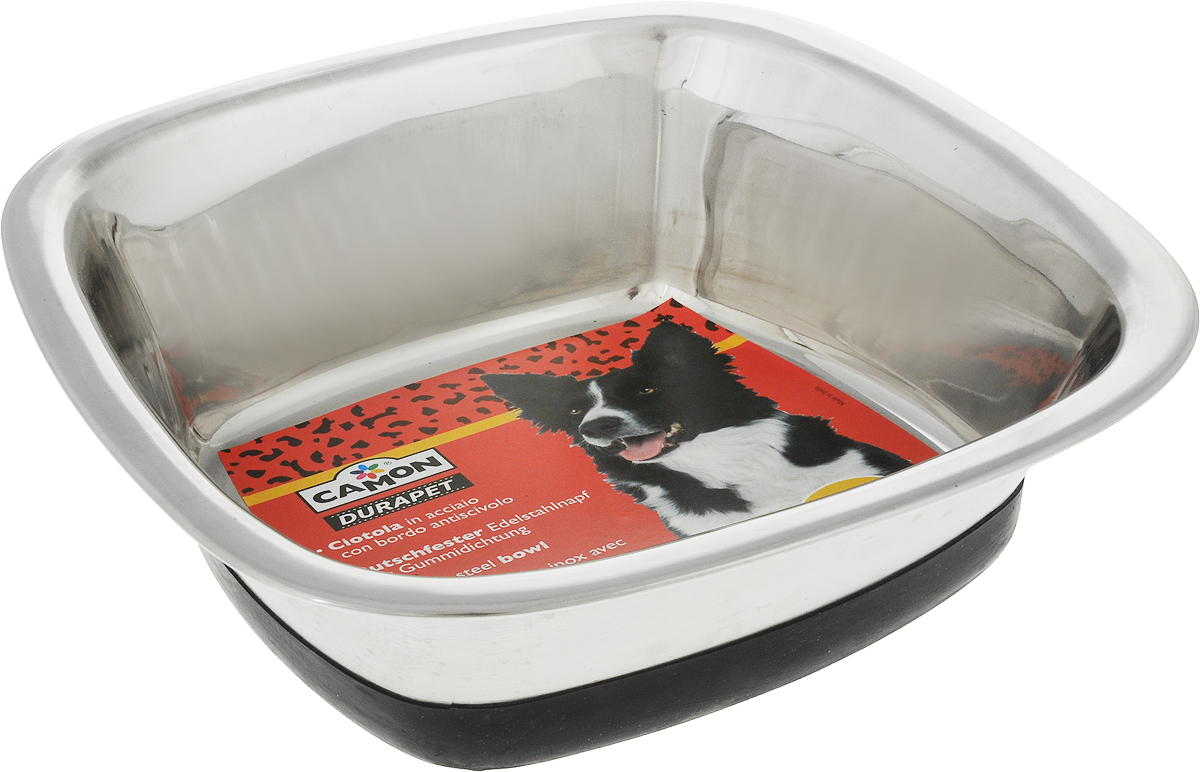 Миска для собак Camon, с противоскользящим дном, 1,5 лC043/XМиска для собак Camon, изготовленная из высококачественного металла, имеет однотонный дизайн. Изделие подойдет для сухого корма, консервов или воды. Основание миски оснащено силиконовой накладкой, которая предотвратит скольжение и повреждение пола.Размер по верхнему краю: 22 x 22 см.Объем: 1,5 л.