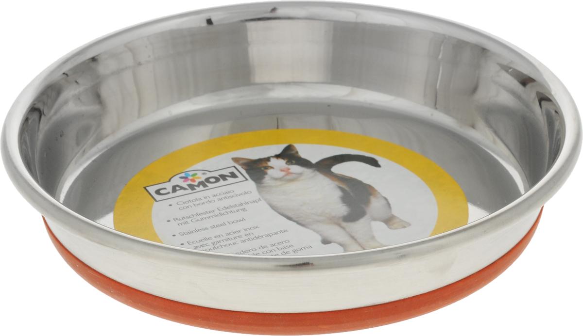 Миска для кошек Camon, с противоскользящим дном, 500 мл. C043/3C043/3Миска для кошек Camon, изготовленная из высококачественного металла, имеет однотонный дизайн. Изделие подойдет для сухого корма, консервов или воды. Основание миски оснащено силиконовой накладкой, которая предотвратит скольжение и повреждение пола.Диаметр: 16 см.Объем: 500 мл.