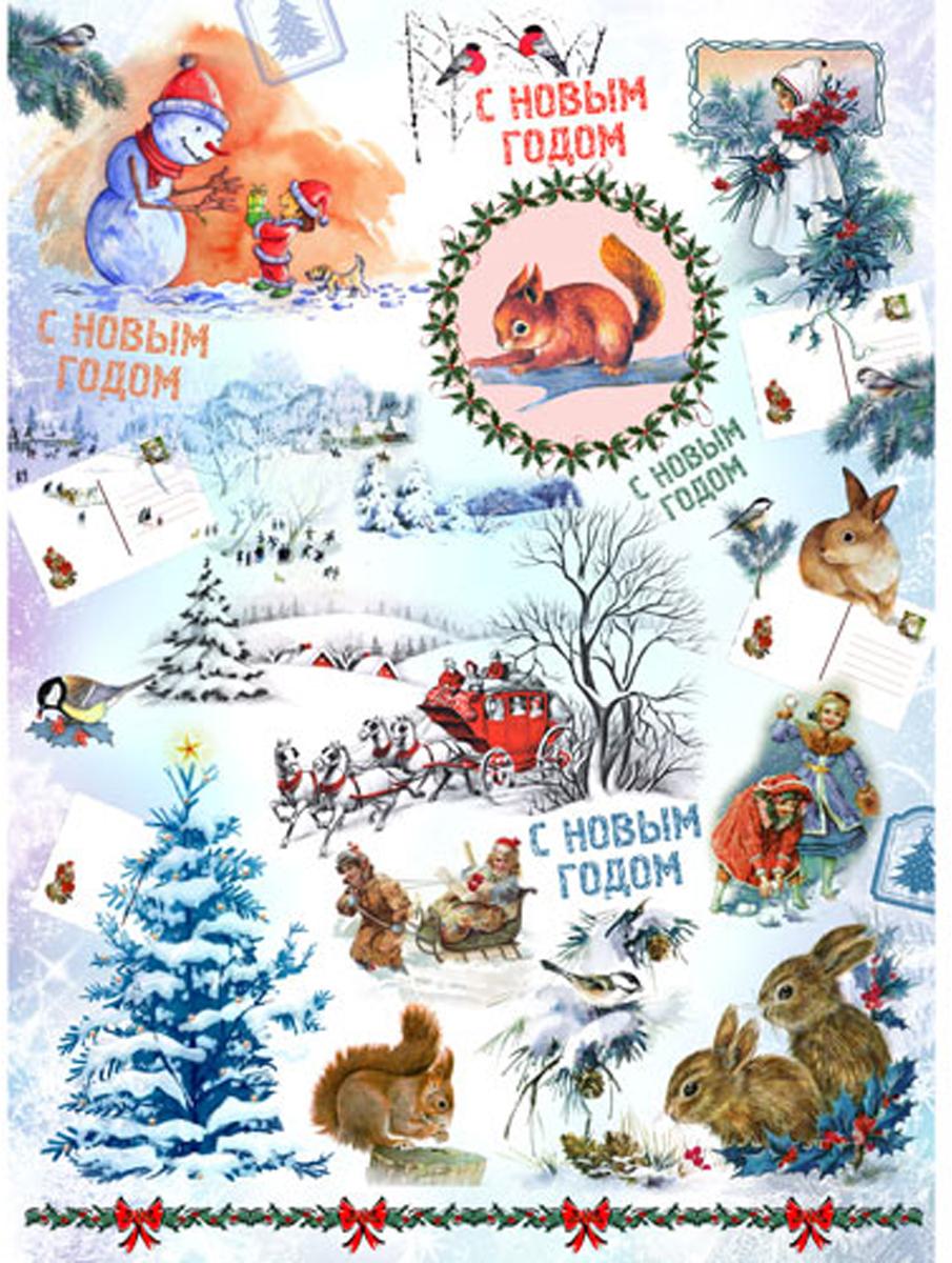 Рисовая бумага для декупажа Craft Premier Новогодняя открытка, 28,2 х 38,4 см рисовая бумага для декупажа craft premier мятное настроение 28 2 см х 38 4 см