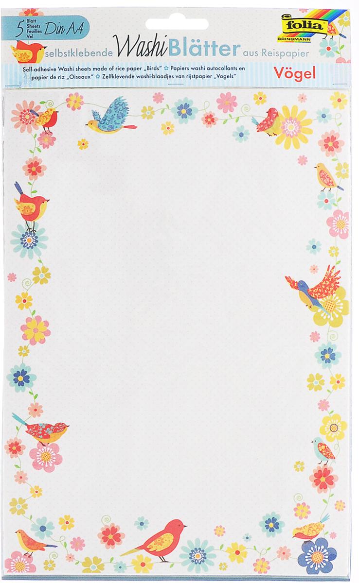 Рисовая бумага Folia Птицы, самоклеящаяся, 29,5 x 21 см, 5 листов eglo folia 89124