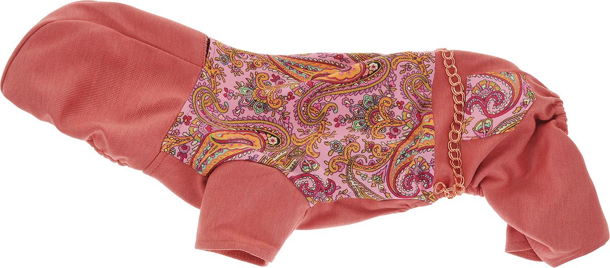 Комбинезон для собак Pret-a-Pet  Цепочки , цвет: кирпичный, розовый. Размер M