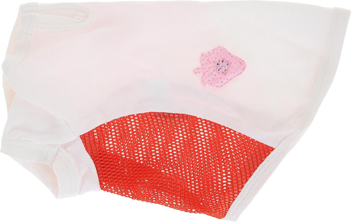 Майка для собак Pret-a-Pet 3 Д картинки, для девочки, цвет: белый, красный, розовый. Размер S d a p феромон для собак