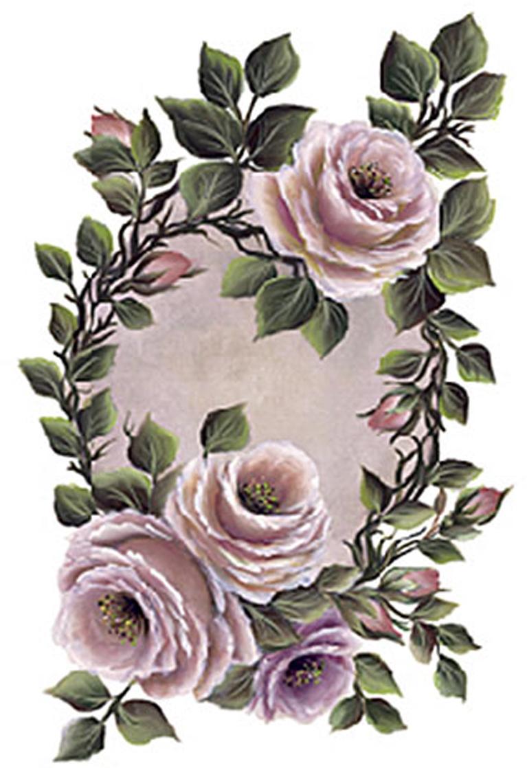 Zakazat.ru Трансфер универсальный Чайные розы с рамочкой, 17 х 25 см G-159
