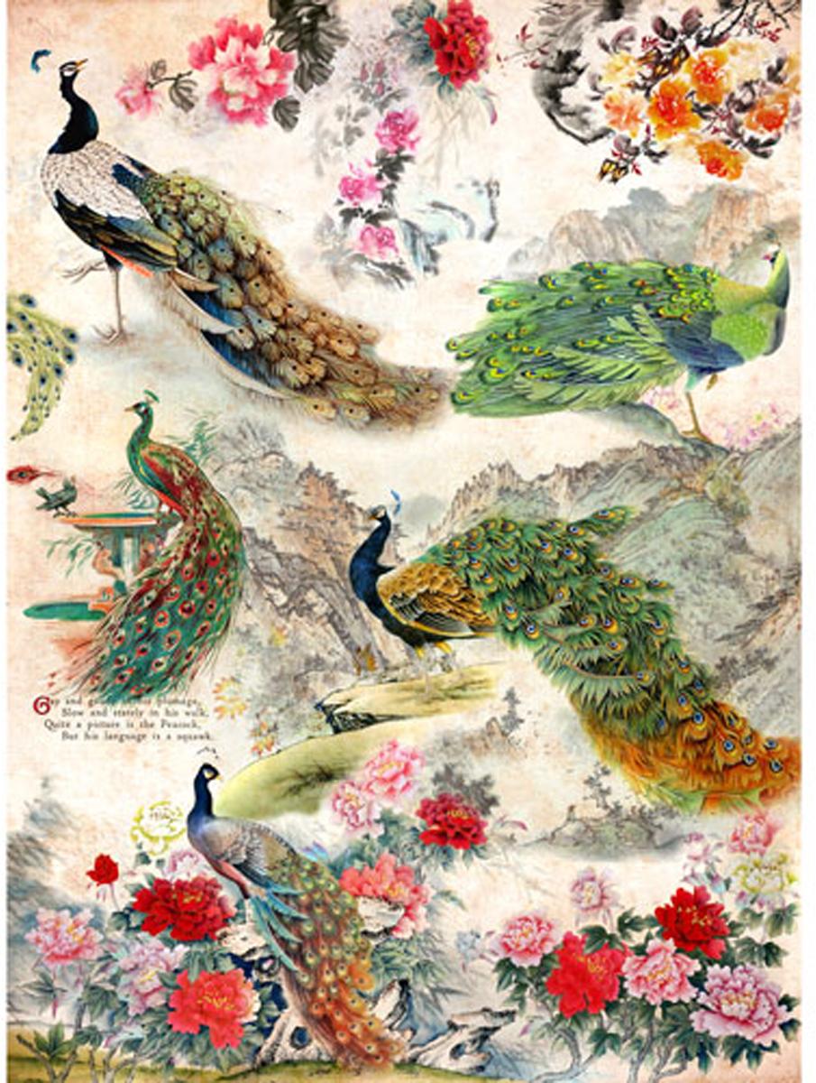 Рисовая бумага для декупажа Craft Premier Павлины, цветы, 28,2 х 38,4 см
