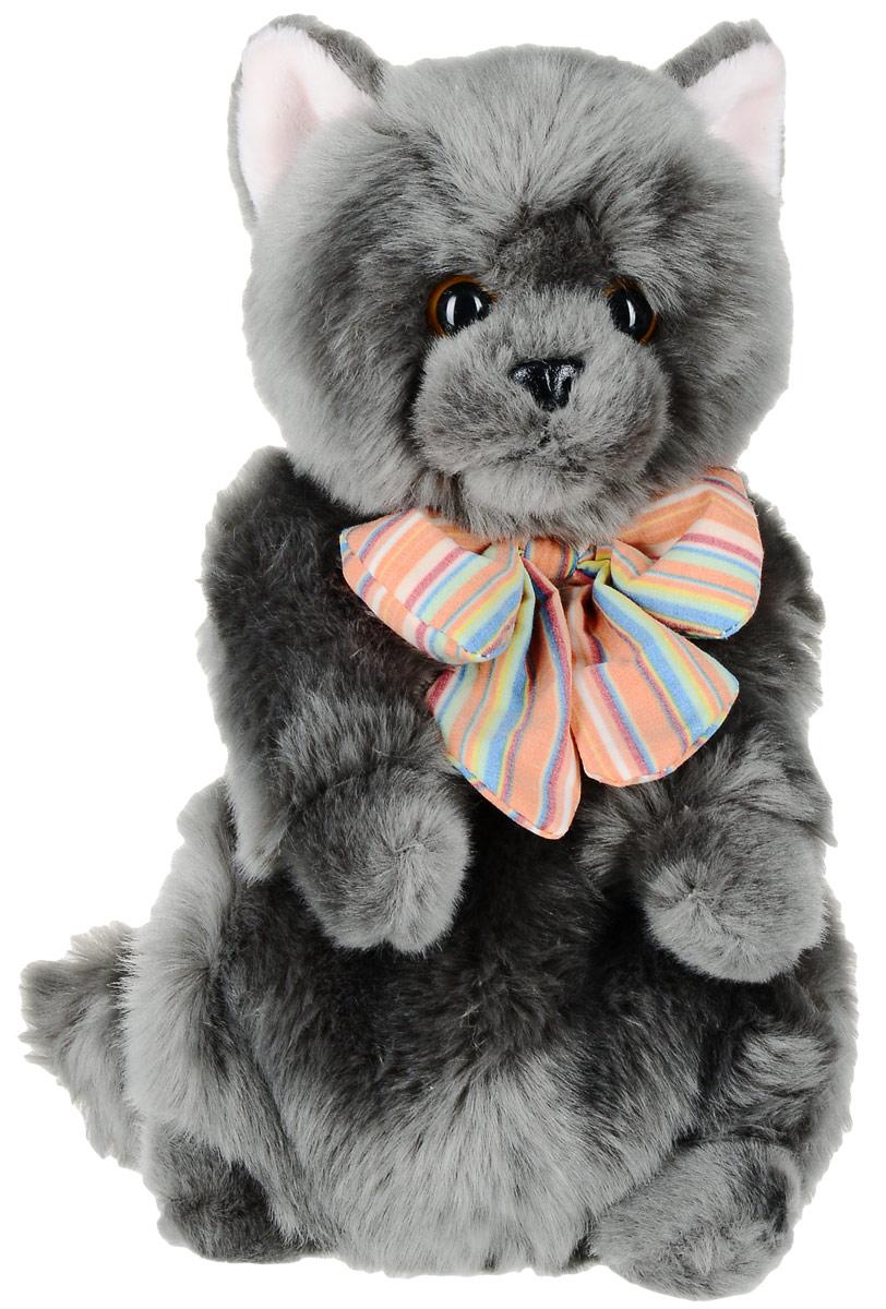 Gulliver Мягкая игрушка Котик Дымок с бантом 24 см мягкая игрушка погремушка котик