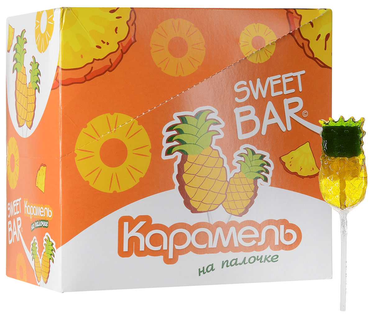 Конфитрейд Sweet Bar Ананас карамель на палочке, 15 шт по 40 г карнитин vplab l carnitine concentrate концентрат лимон 1 л