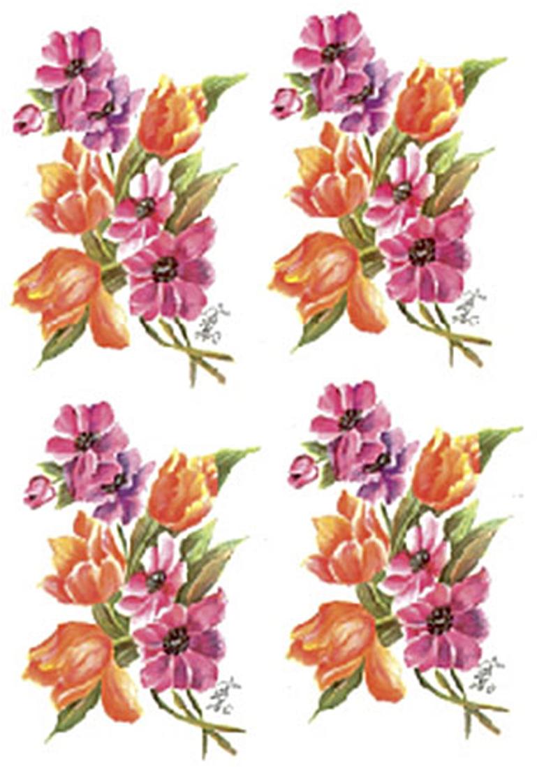Zakazat.ru Трансфер универсальный Оранжевые тюльпаны и фуксии малые, 4 изображения, 17 х 25 см G-45