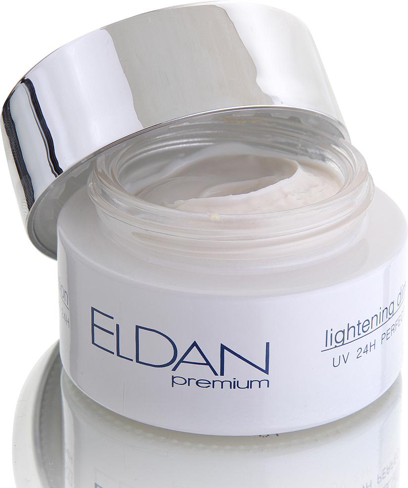 ELDAN cosmetics Отбеливающий крем для лица 24 часа Premium lightning dimention, 50 млELD-52Крем способствует постепенному и прогрессирующему уменьшению пигментации, выравниванию цвета лица, осветлению веснушек. Формула функционального отбеливающего комплекса на основе аскорбилфосфат магния и экстракта листьев толокнянки специально создана для блокировки фермента тирозиназы, отвечающего за выработку меланина, способствует эффективному отбеливанию и выравниванию цвета кожи. Ресвератрол, витамины Е и РР запускают обменные процессы, защищая клетки от окисления и воздействия свободных радикалов, уменьшая дегенеративные процессы при фотостарении. Входящий в состав крема диоксид титана защищает кожу от воздействия УФ лучей (SPF 25). Регулярное использоавние средства гарантирует заметный отбеливающий эффект и предотвращает признаки фотостарения.